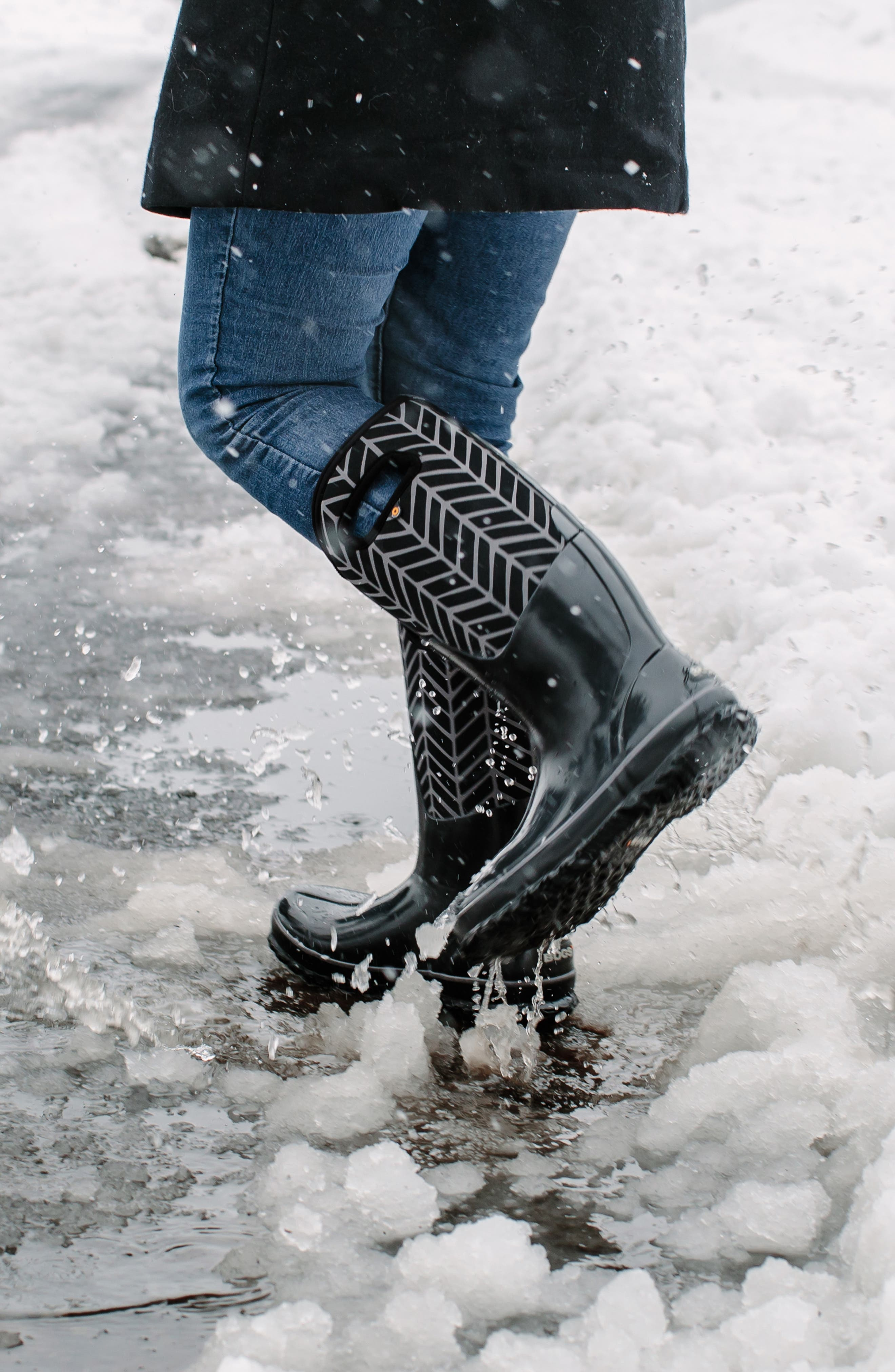 BOGS, Classic Tall Badge Waterproof Snow Boot, Alternate thumbnail 9, color, 009