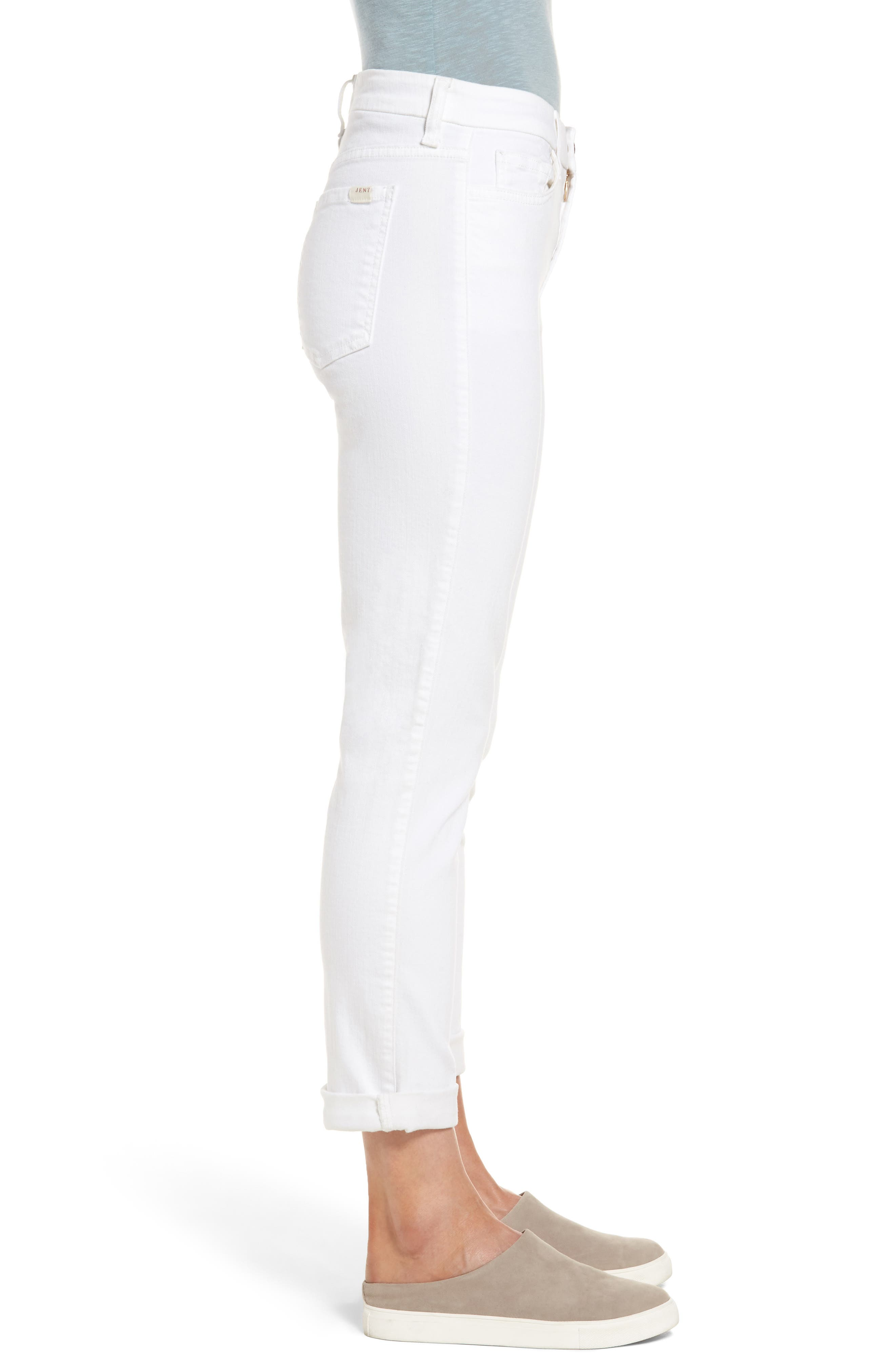 JEN7 BY 7 FOR ALL MANKIND, Stretch Straight Leg Crop Jeans, Alternate thumbnail 3, color, WHITE DENIM