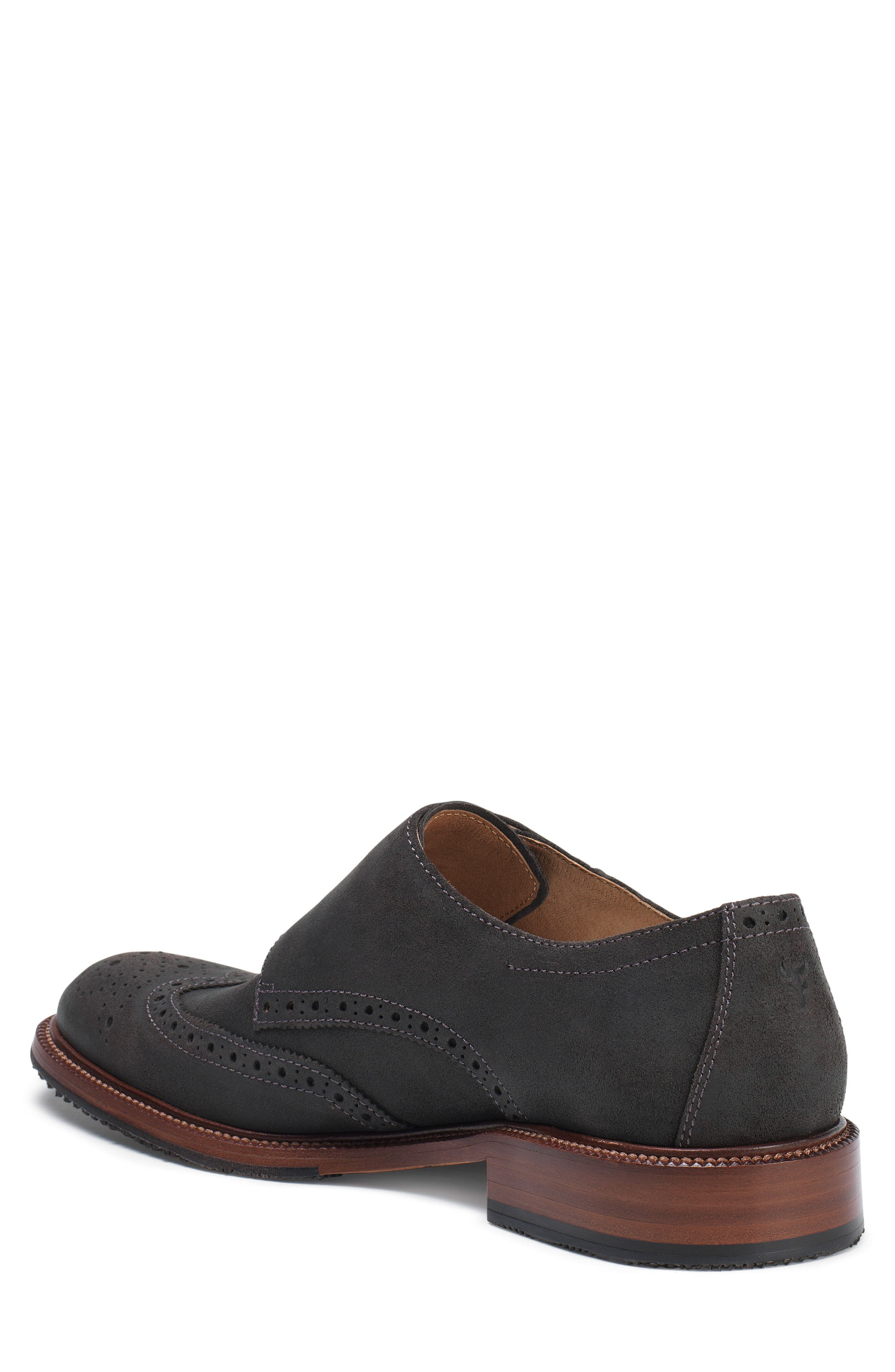 TRASK, Leland Double Monk Strap Shoe, Alternate thumbnail 2, color, GRAY WAXED SUEDE