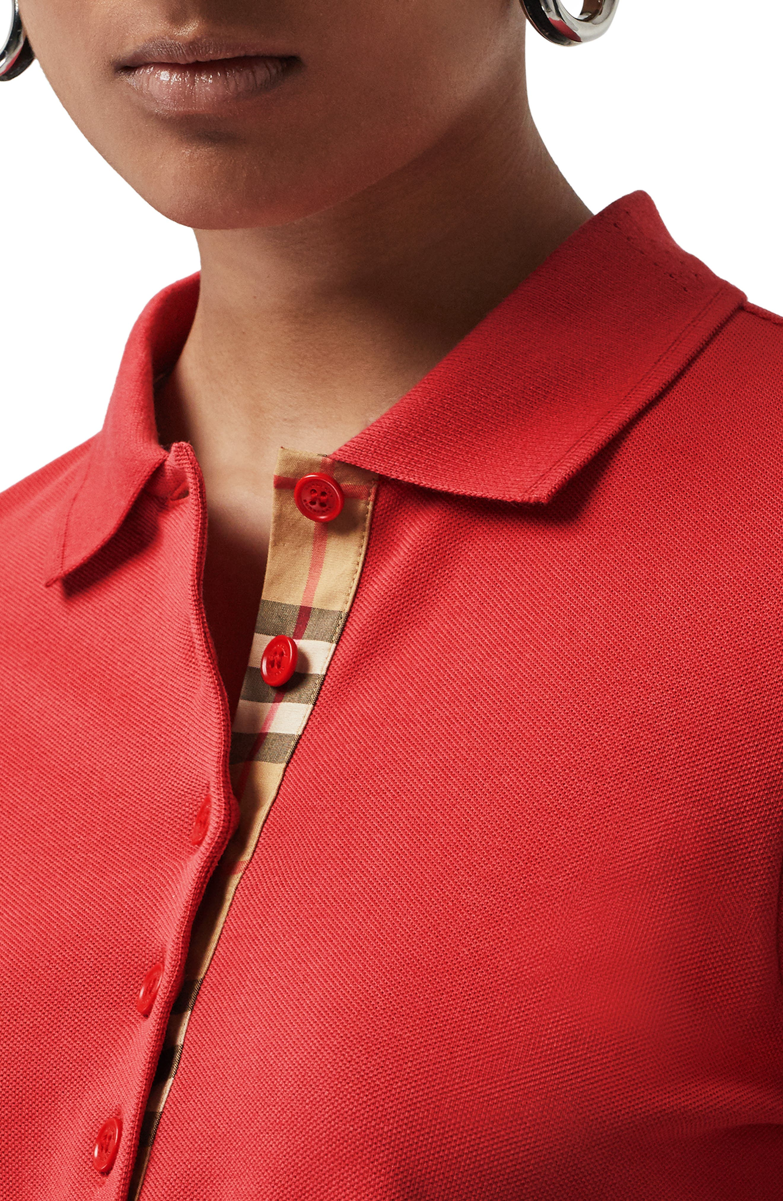 BURBERRY, Zulia Polo Shirt, Alternate thumbnail 3, color, BRIGHT RED