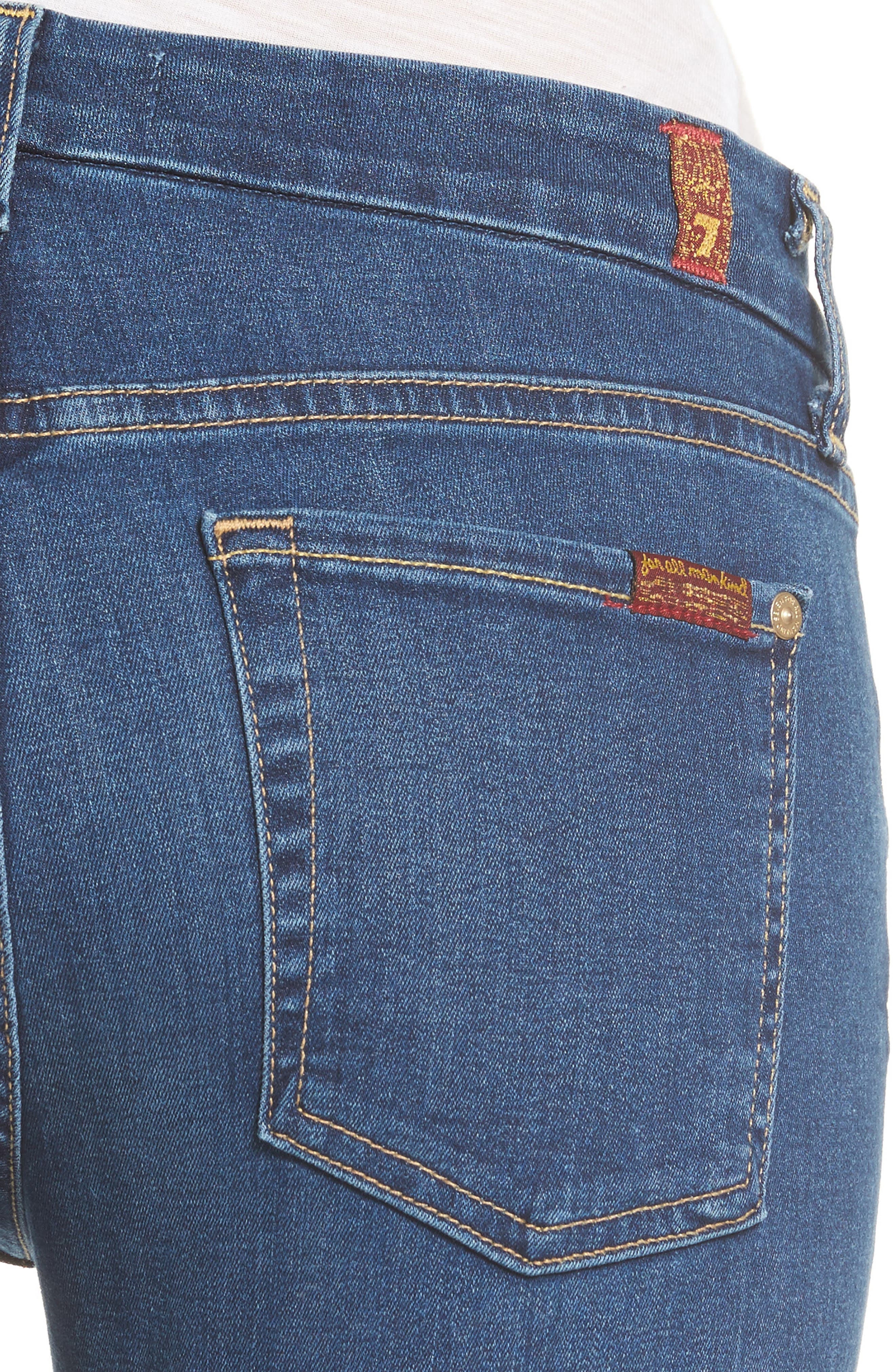 7 FOR ALL MANKIND<SUP>®</SUP>, b(air) Raw Hem Ankle Skinny Jeans, Alternate thumbnail 4, color, BAIR REIGN