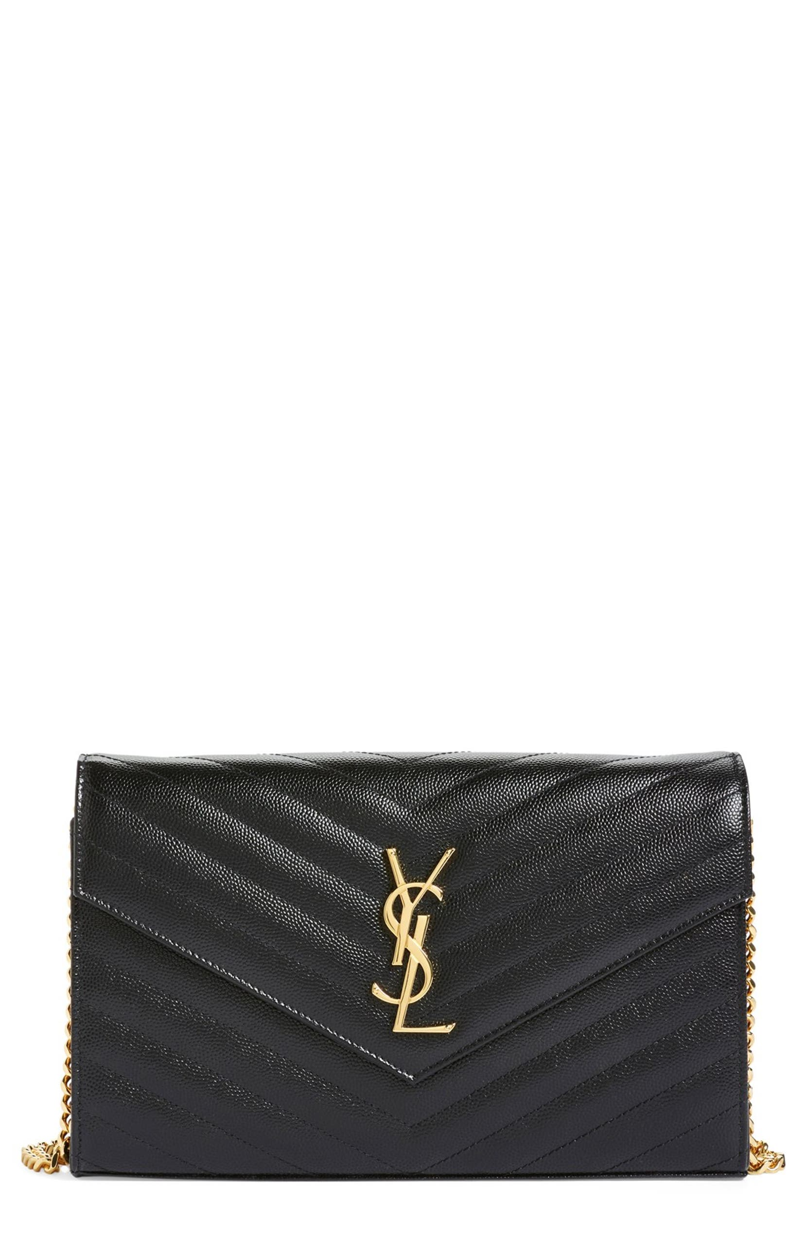 a4ade8be640 Saint Laurent Large Monogram Quilted Leather Wallet on a Chain ...