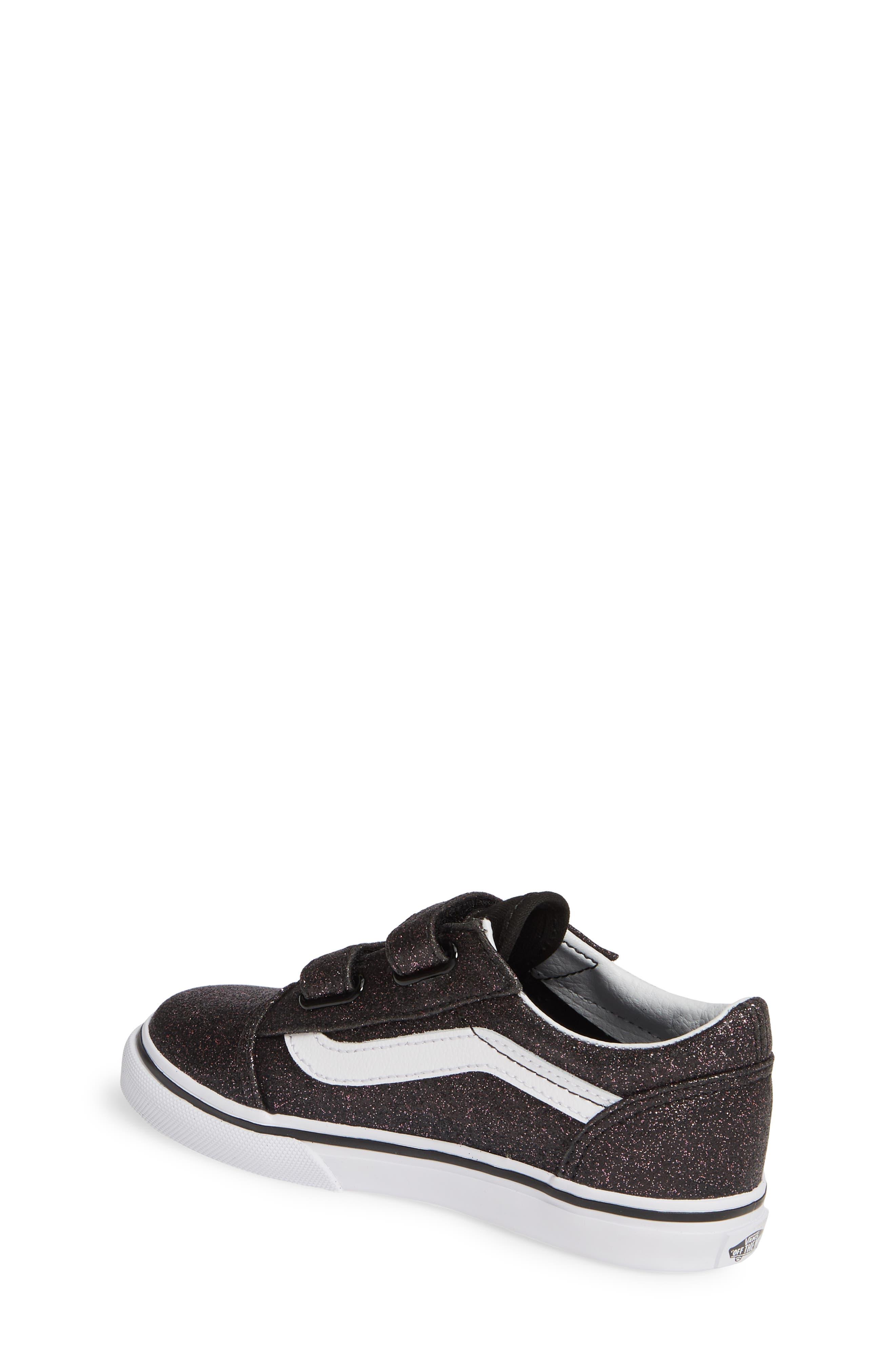 VANS, Old Skool V Glitter Sneaker, Alternate thumbnail 2, color, GLITTER STARS BLACK/ WHITE
