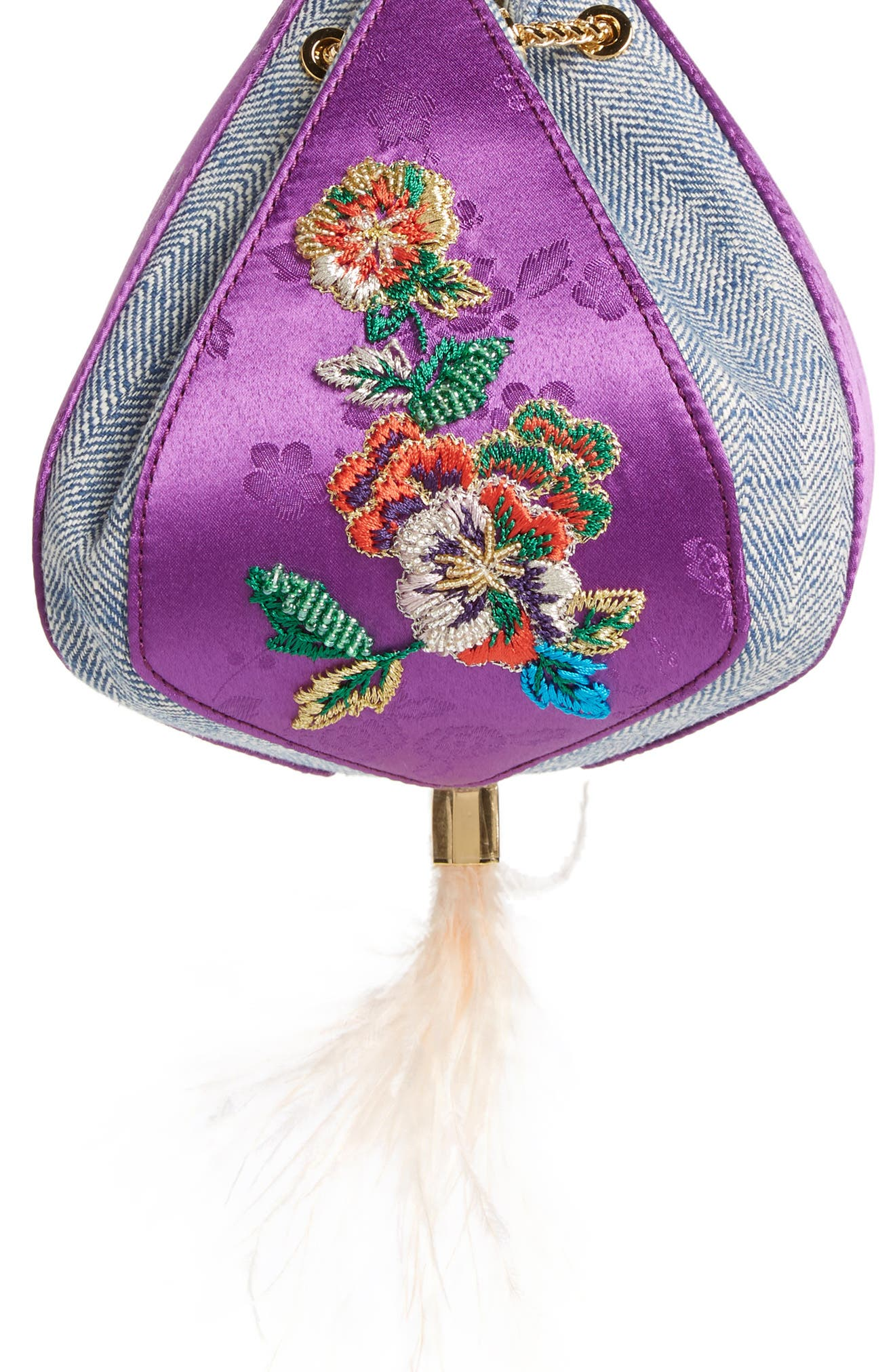 THE VOLON, Cindy Flower Embroidered Brocade & Denim Clutch, Main thumbnail 1, color, CHECK PURPLE