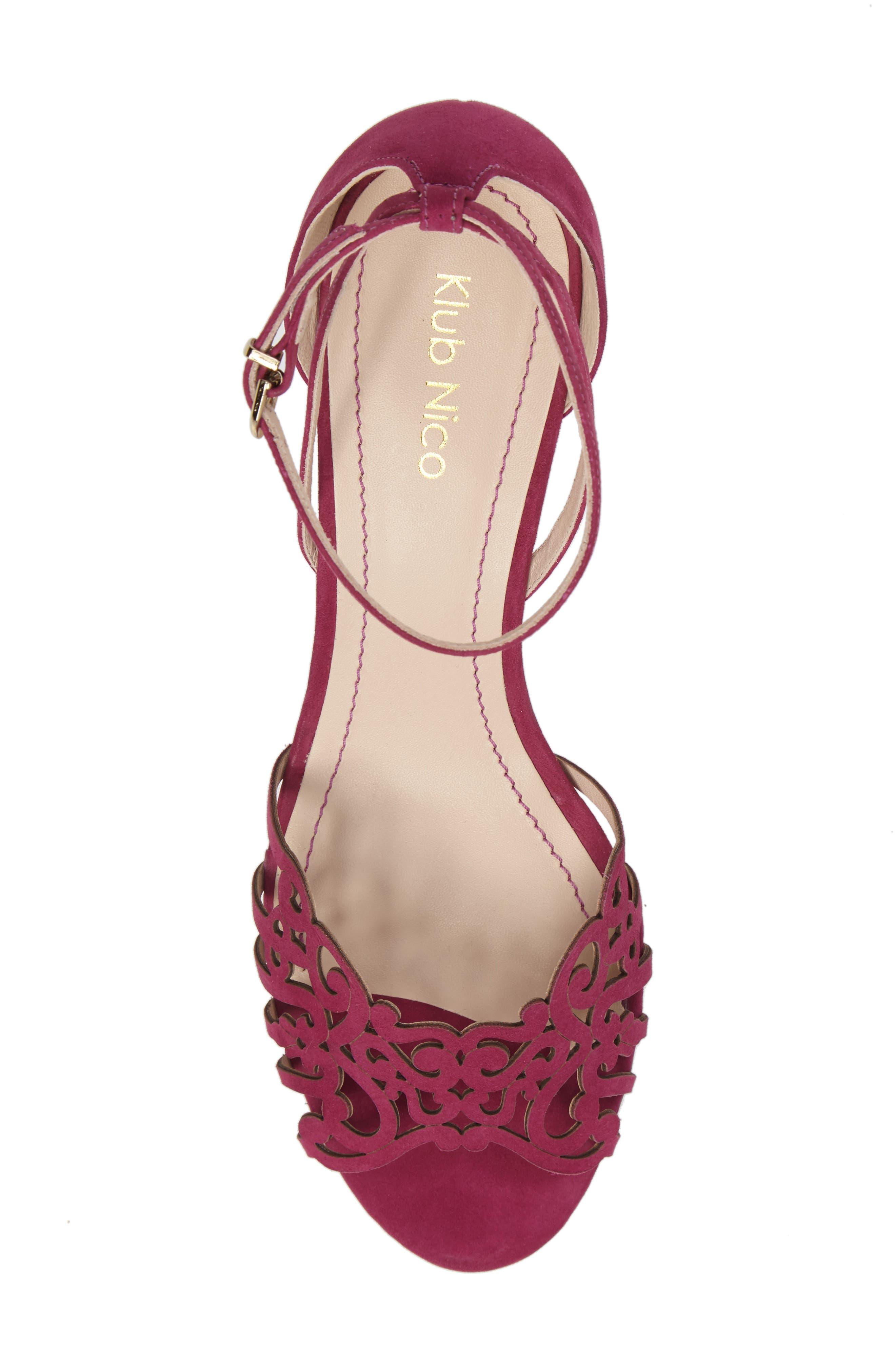 KLUB NICO, 'Kingston' Ankle Strap Wedge Sandal, Alternate thumbnail 5, color, MAGENTA LEATHER