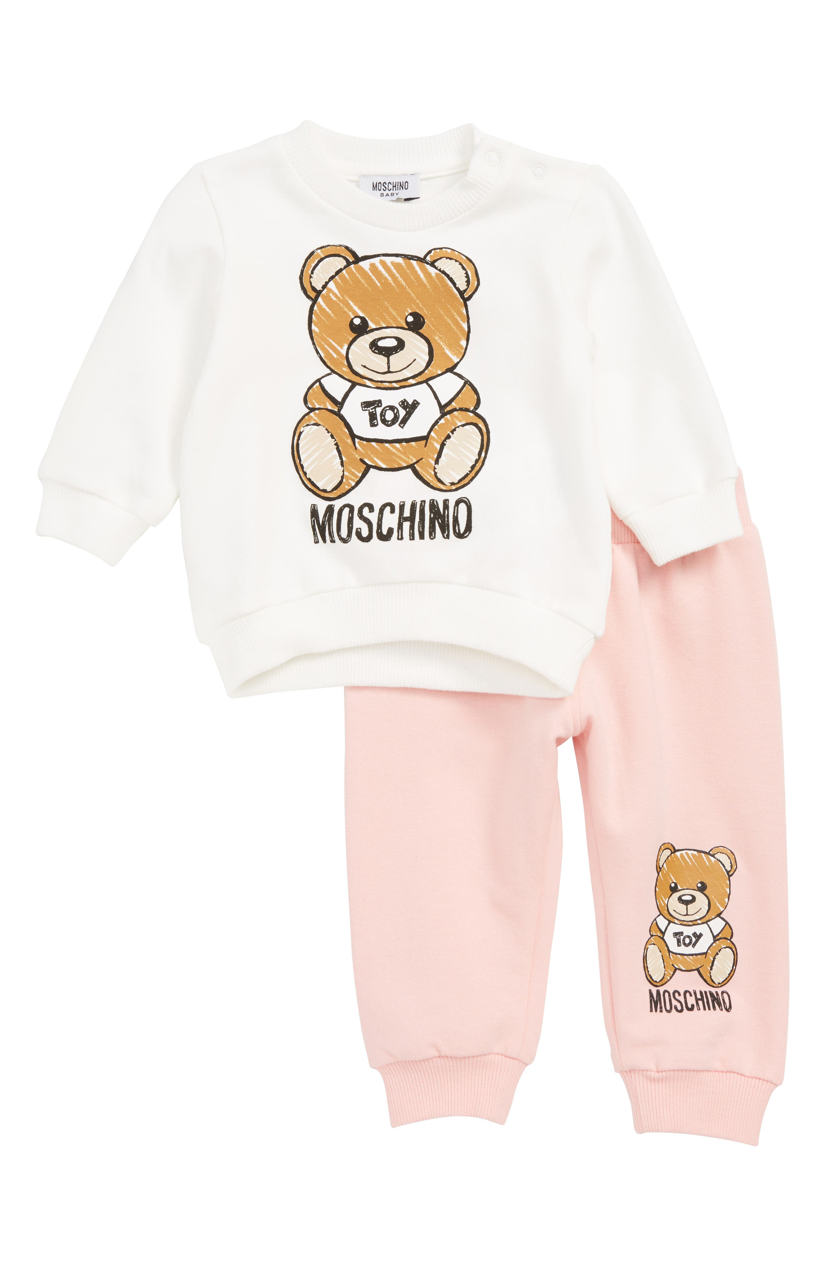 MOSCHINO, Bear Print Sweatshirt & Jogger Pants Set, Main thumbnail 1, color, 650