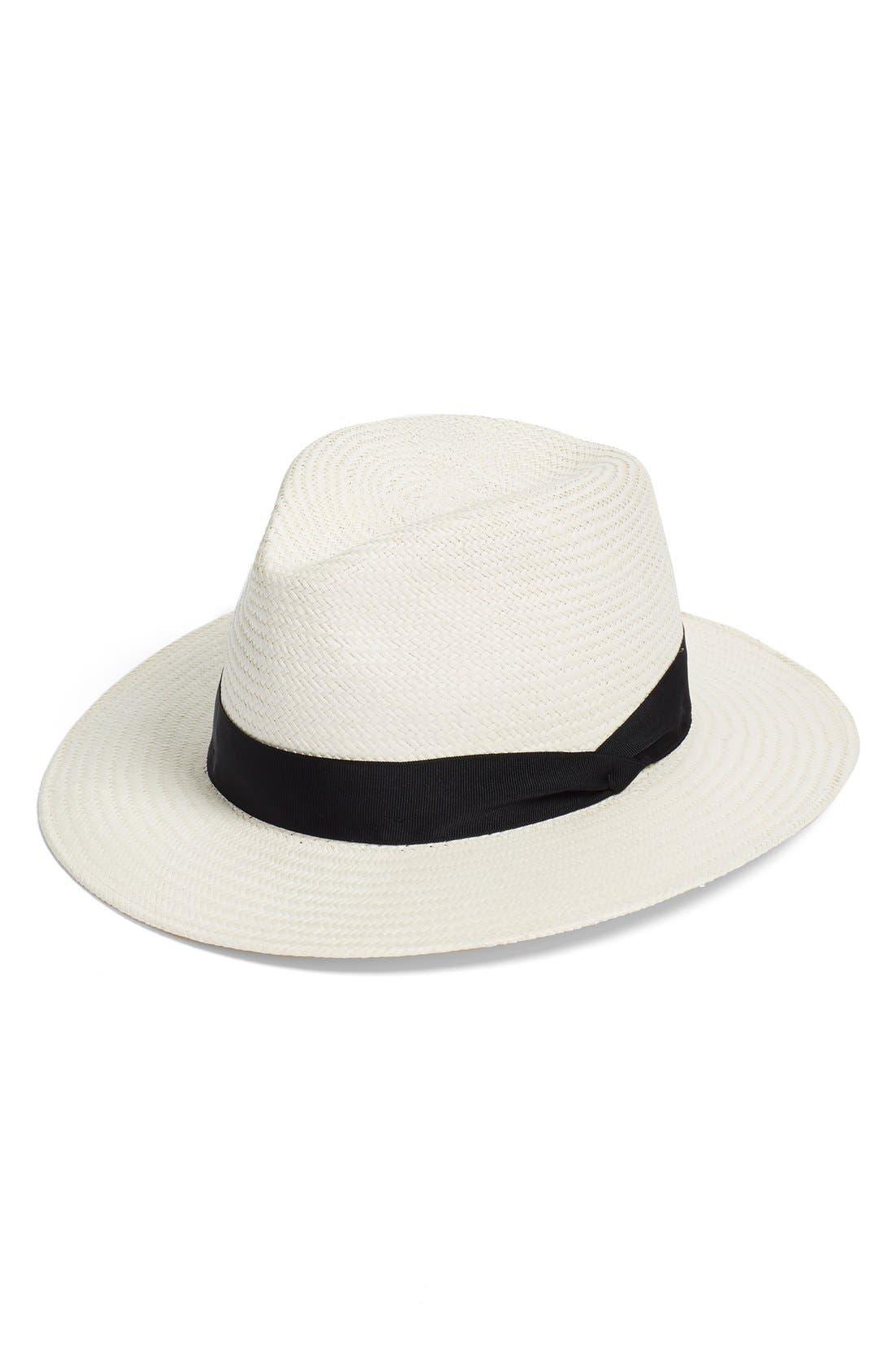 RAG & BONE, Straw Panama Hat, Main thumbnail 1, color, WHITE