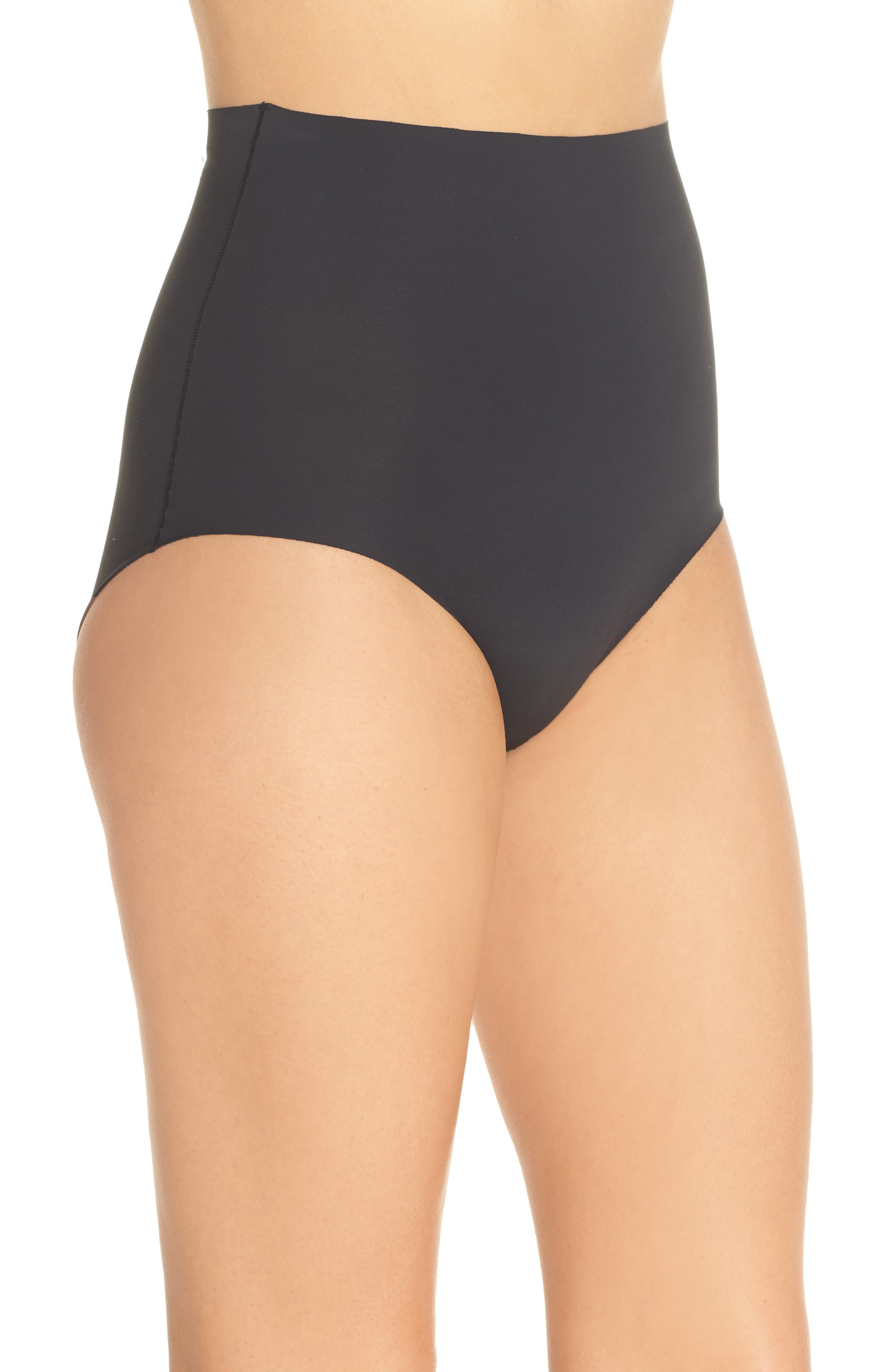 YUMMIE, Smooth Solutions Mid Waist Briefs, Alternate thumbnail 3, color, BLACK