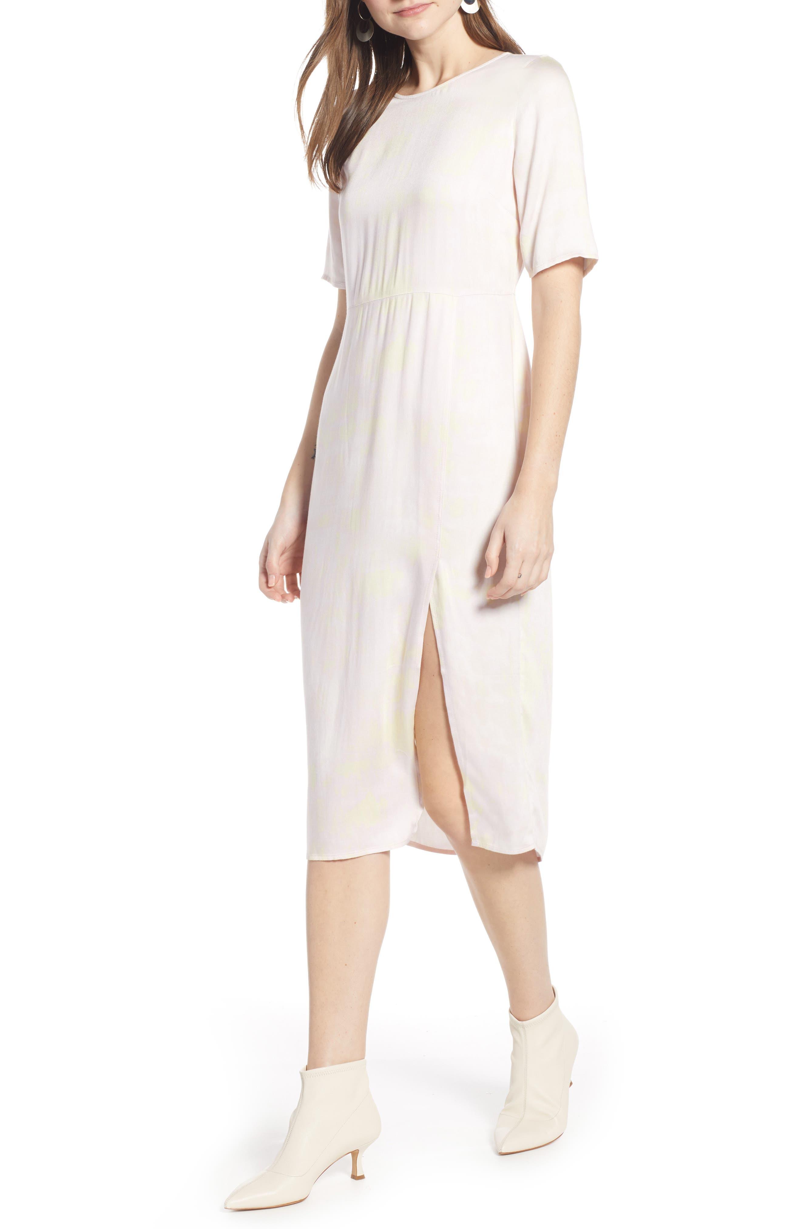 SOMETHING NAVY, Front Slit Midi Dress, Alternate thumbnail 7, color, 680