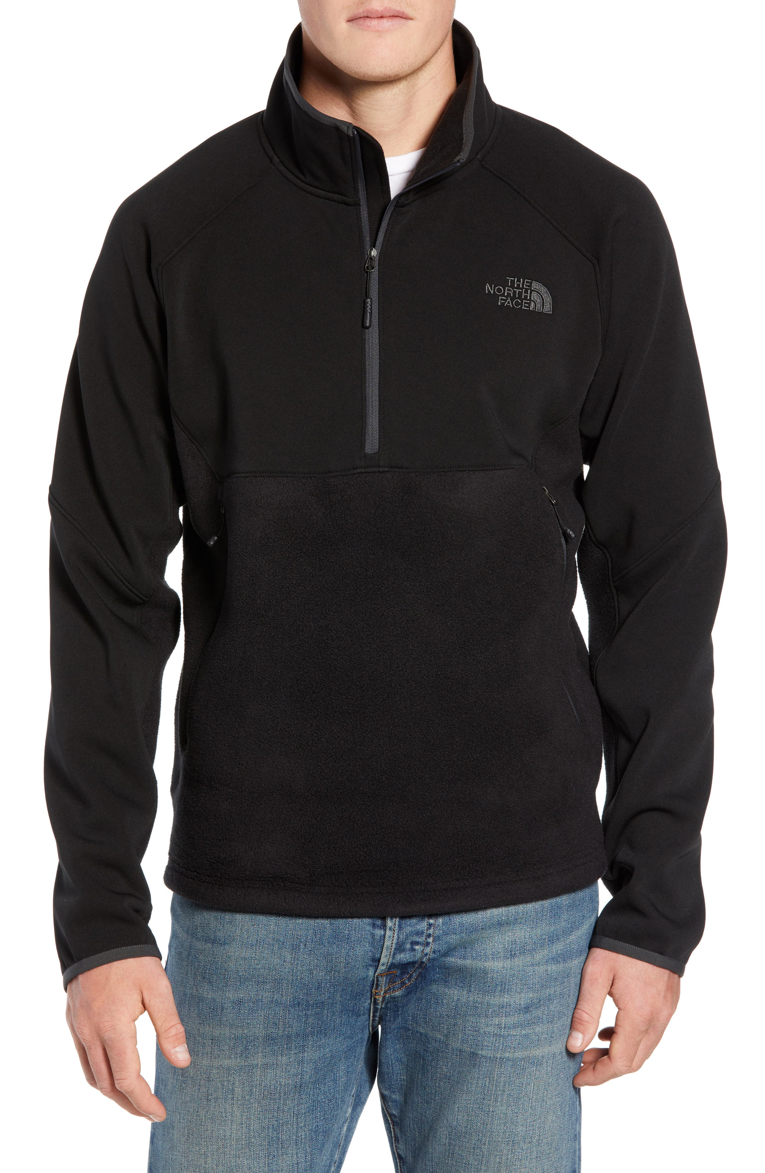 THE NORTH FACE, Tolmiepeak Hybrid Half-Zip Pullover, Main thumbnail 1, color, 001