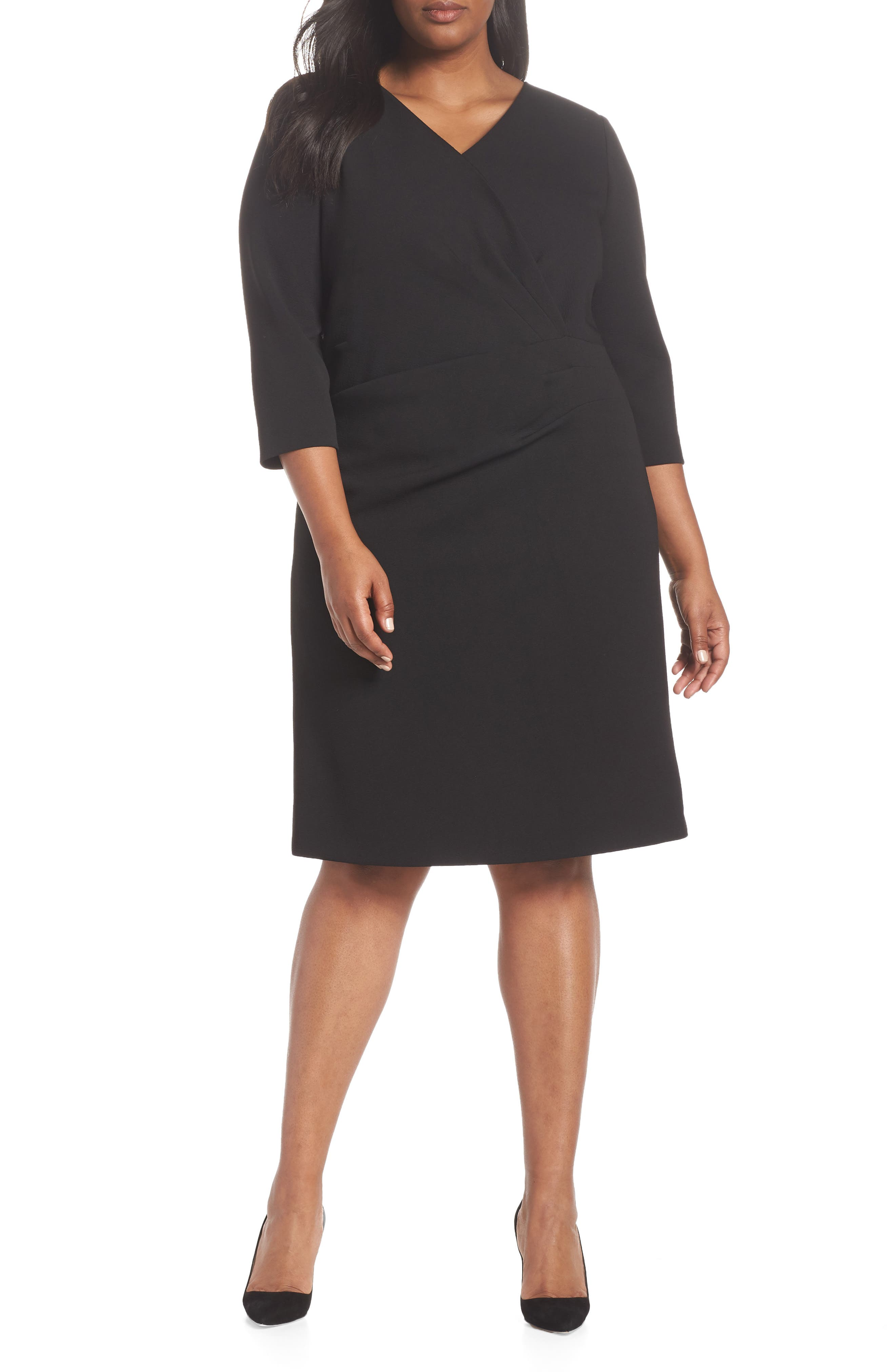 TAHARI, Ruched Surplice Crepe Sheath Dress, Main thumbnail 1, color, BLACK