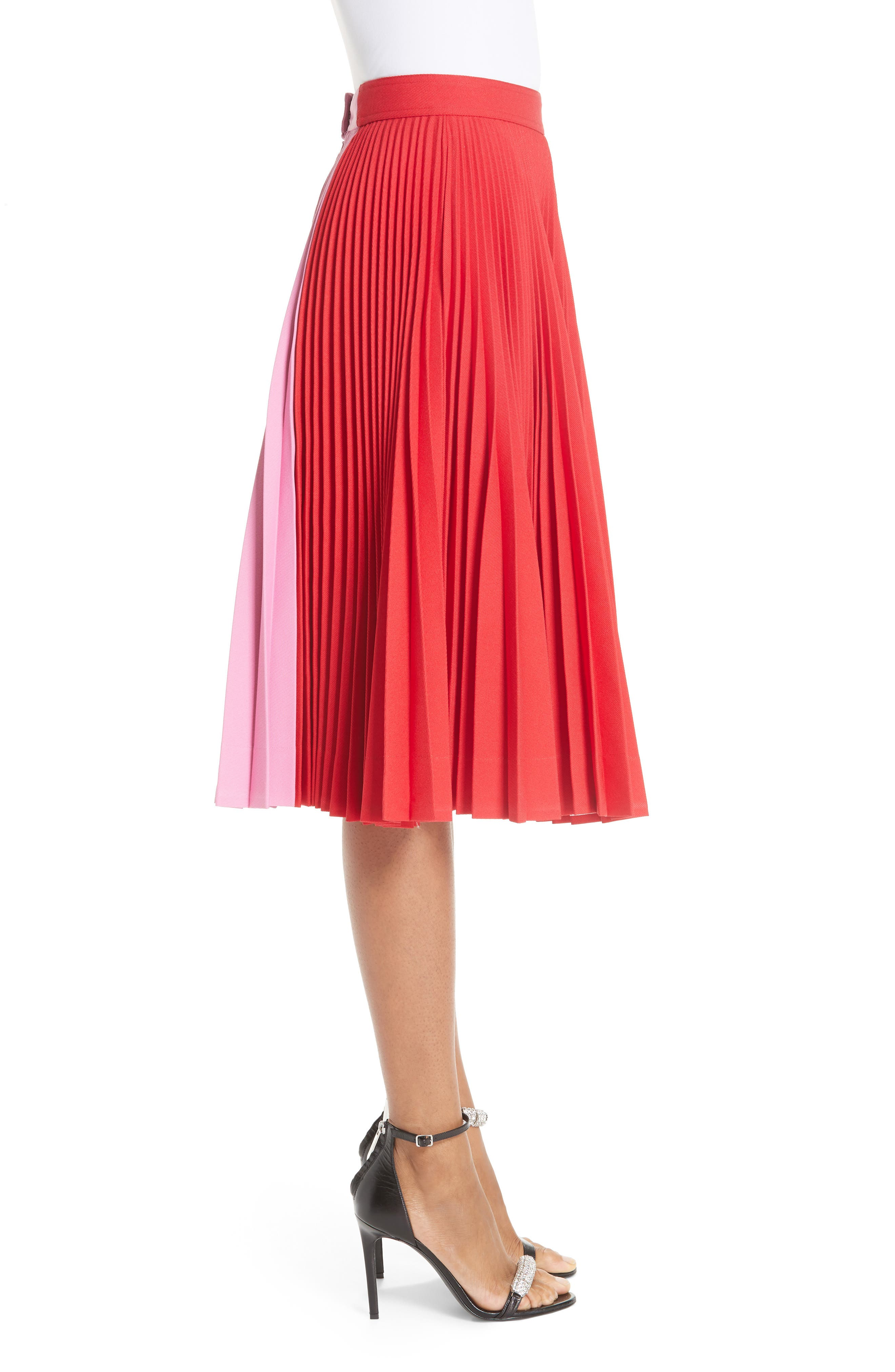 CALVIN KLEIN 205W39NYC, Bicolor Pleated Skirt, Alternate thumbnail 3, color, SCARLET ANEMONE