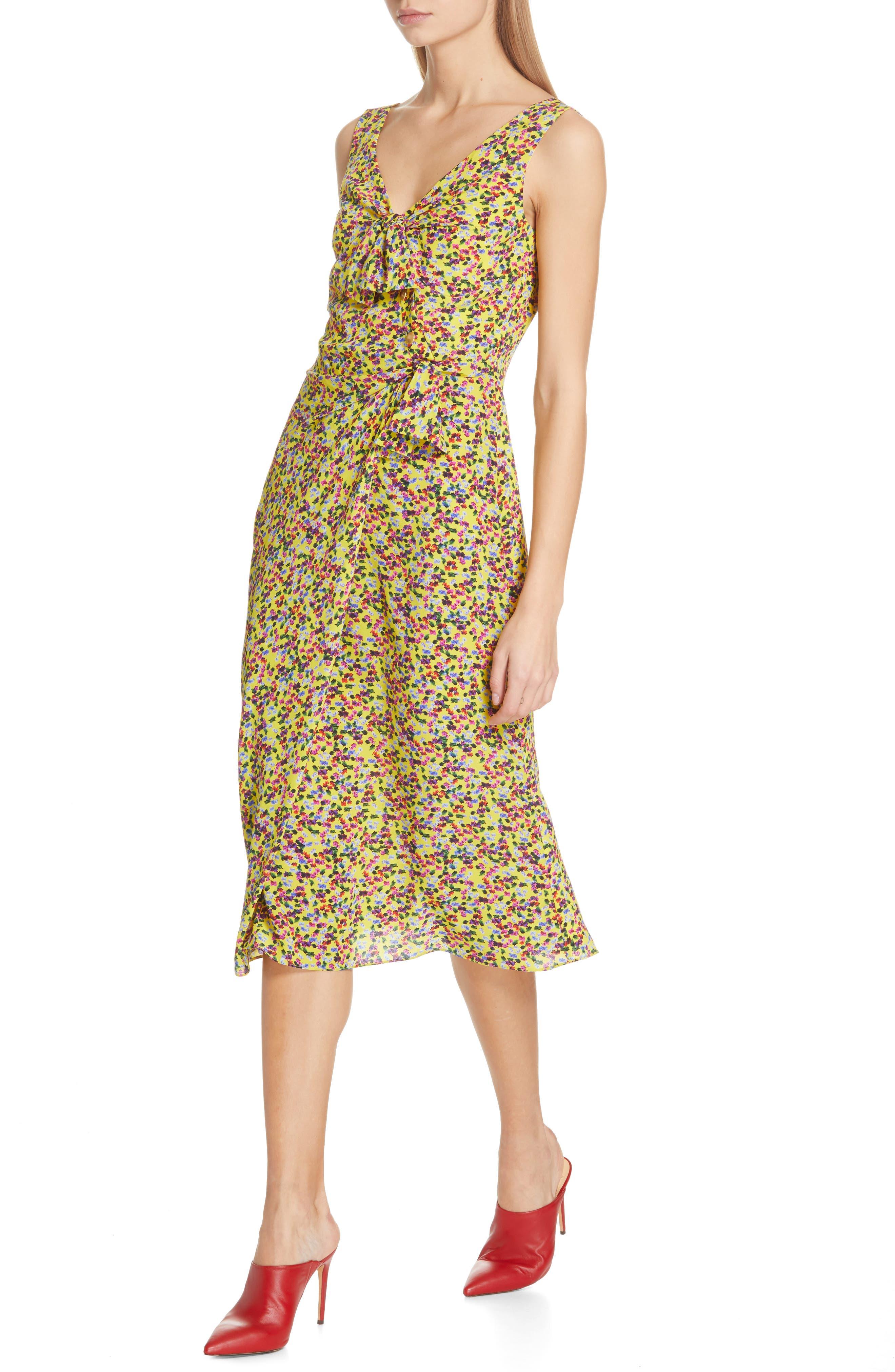SALONI, Penelope Floral Print Silk Midi Dress, Alternate thumbnail 4, color, YELLOW GARDENIA