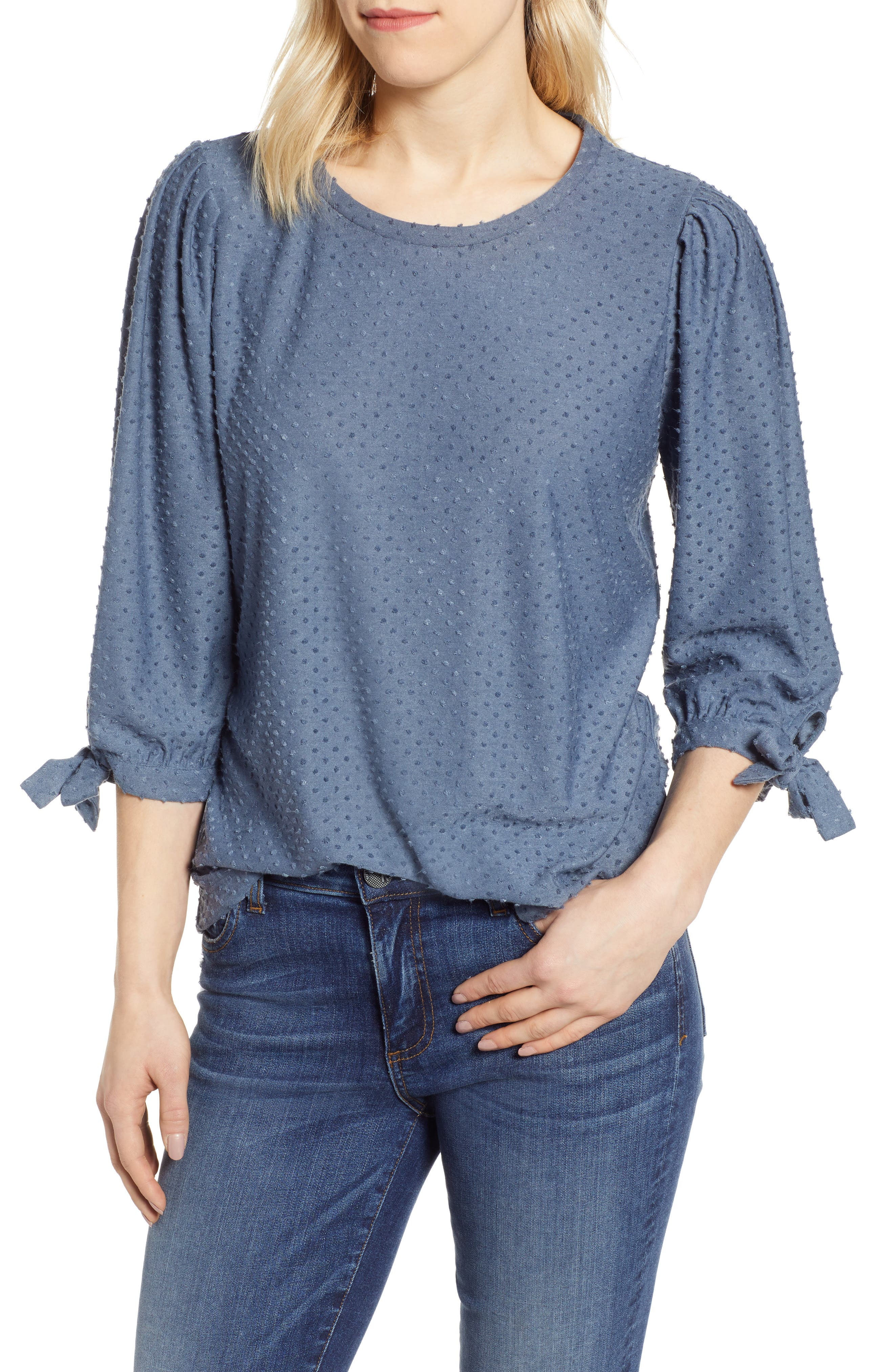 GIBSON, x International Women's Day Ruthie Clip Dot Tie Sleeve Blouse, Main thumbnail 1, color, DENIM