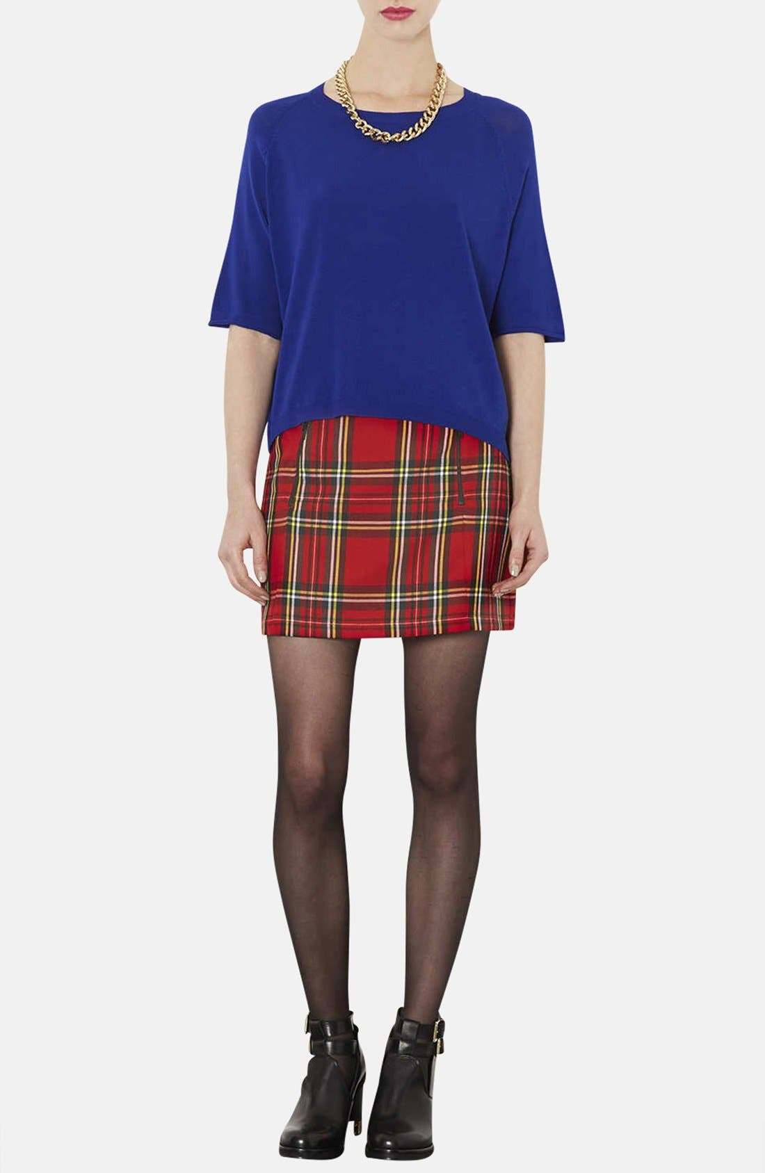 TOPSHOP, Tartan Plaid Skirt, Alternate thumbnail 2, color, 600