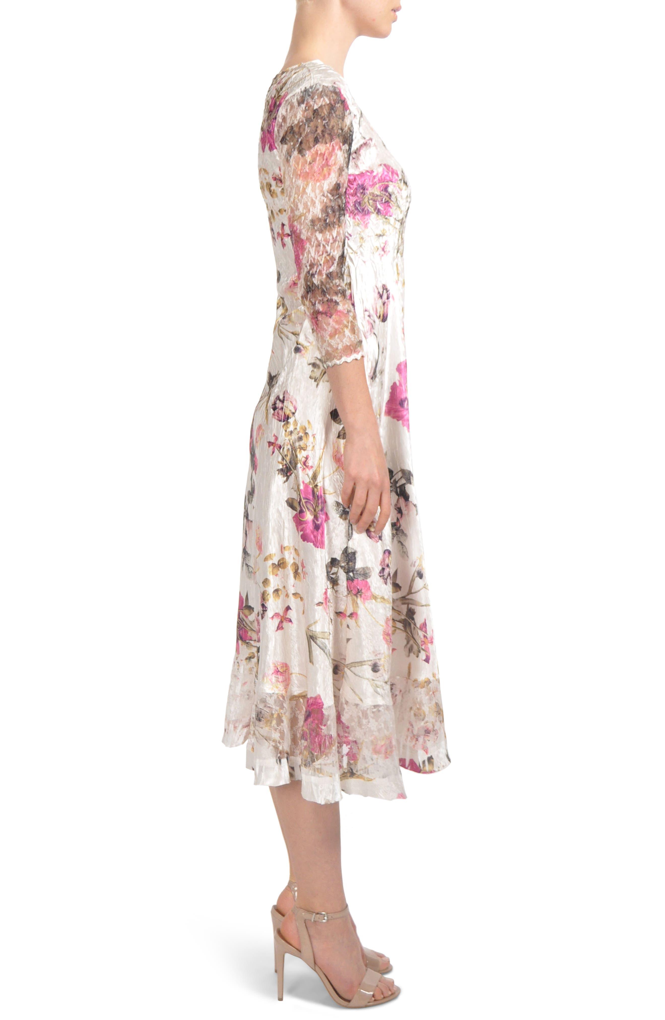 KOMAROV, Chiffon & Charmeuse Dress, Alternate thumbnail 3, color, ENGLISH BLOOM