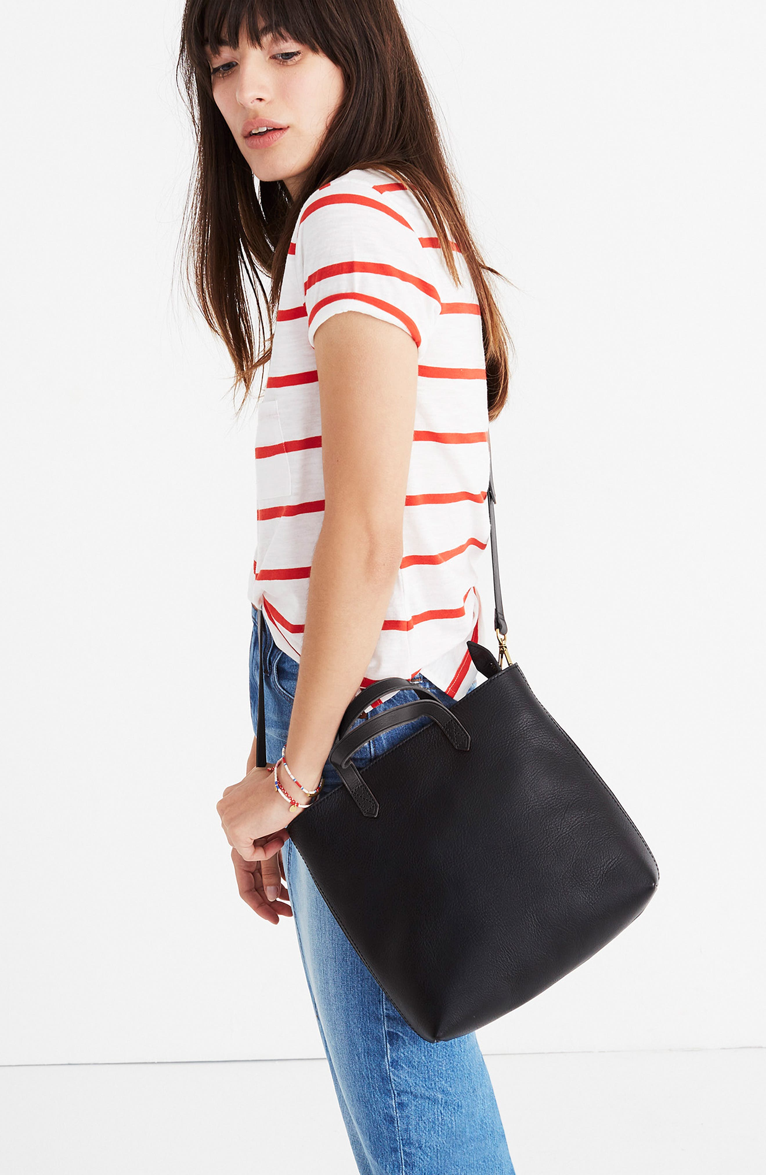 MADEWELL, Small Transport Leather Crossbody Tote, Alternate thumbnail 7, color, TRUE BLACK