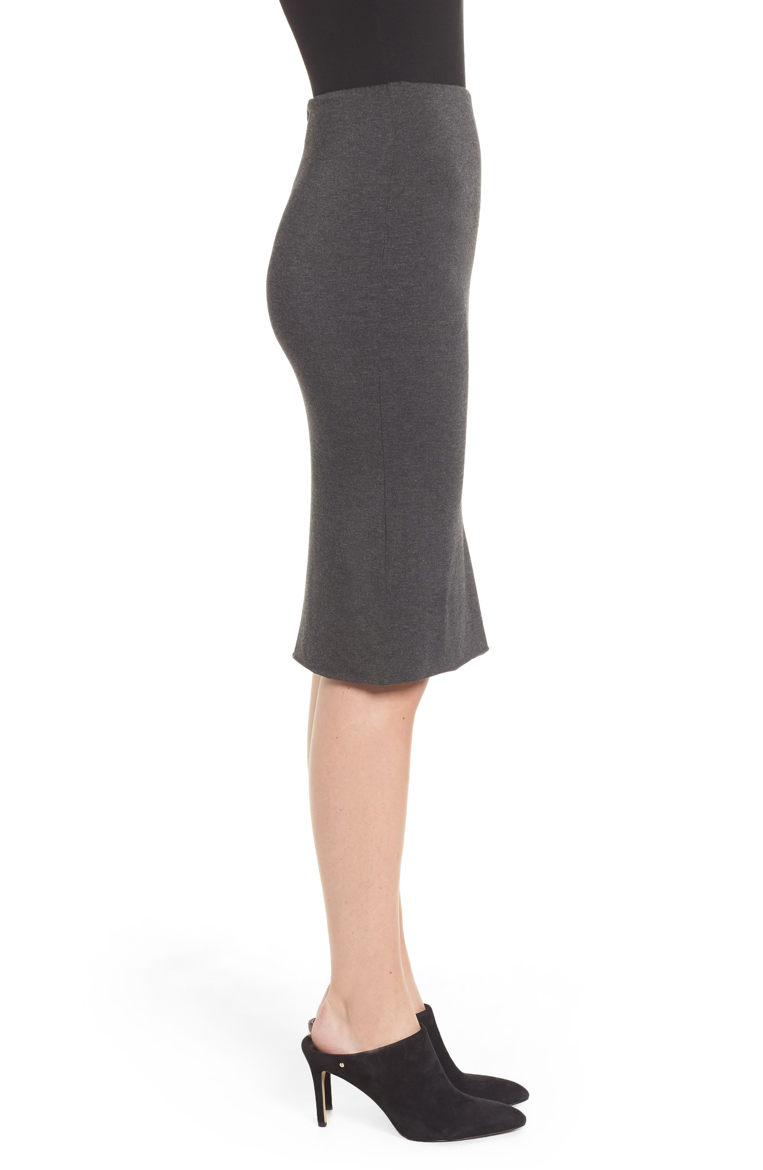 AMOUR VERT, 'Yuma' Stretch Knit Skirt, Alternate thumbnail 3, color, ANTHRACITE