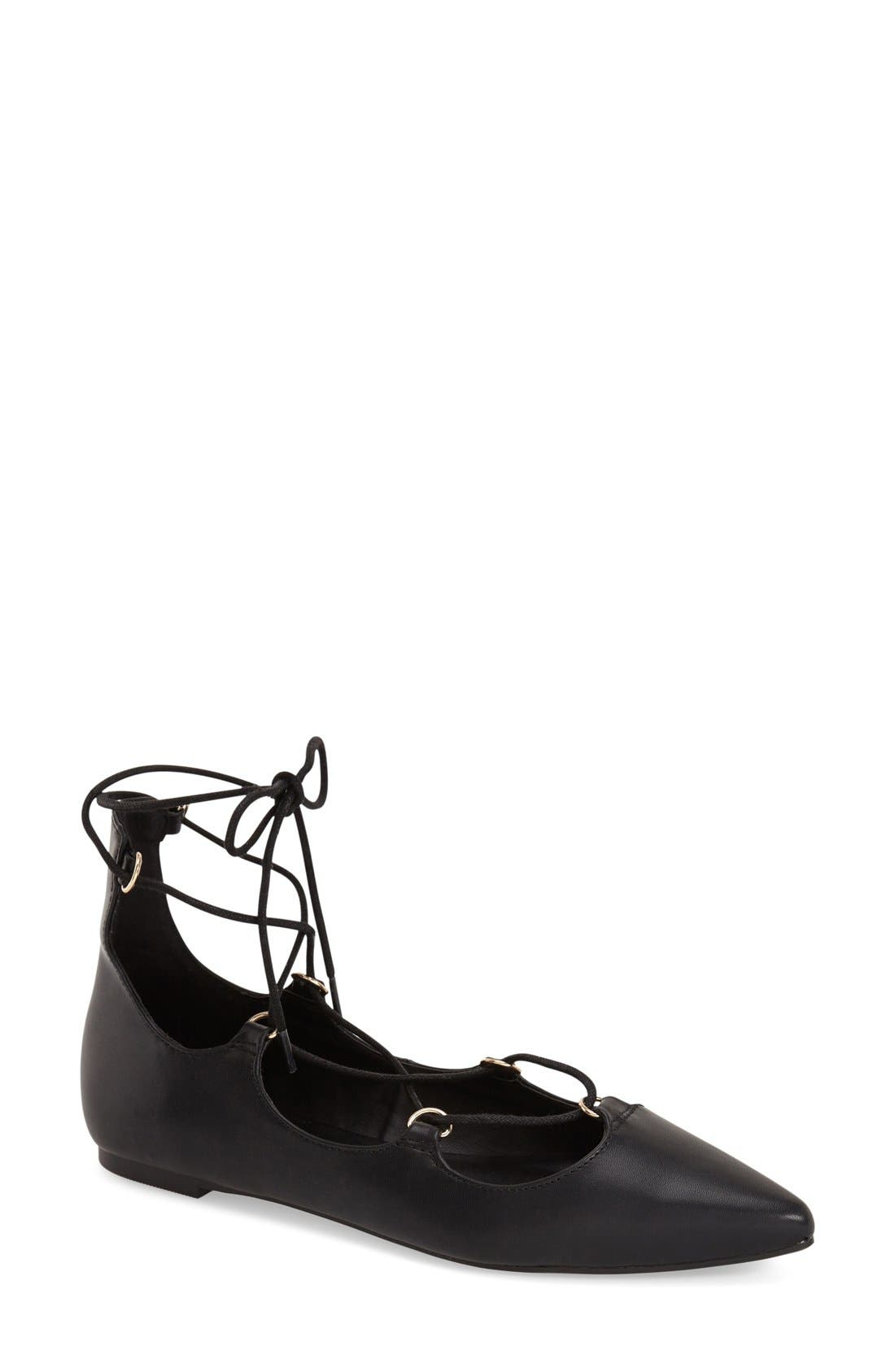 TOPSHOP, 'Fancy' Pointy Toe Ghillie Flat, Main thumbnail 1, color, 001