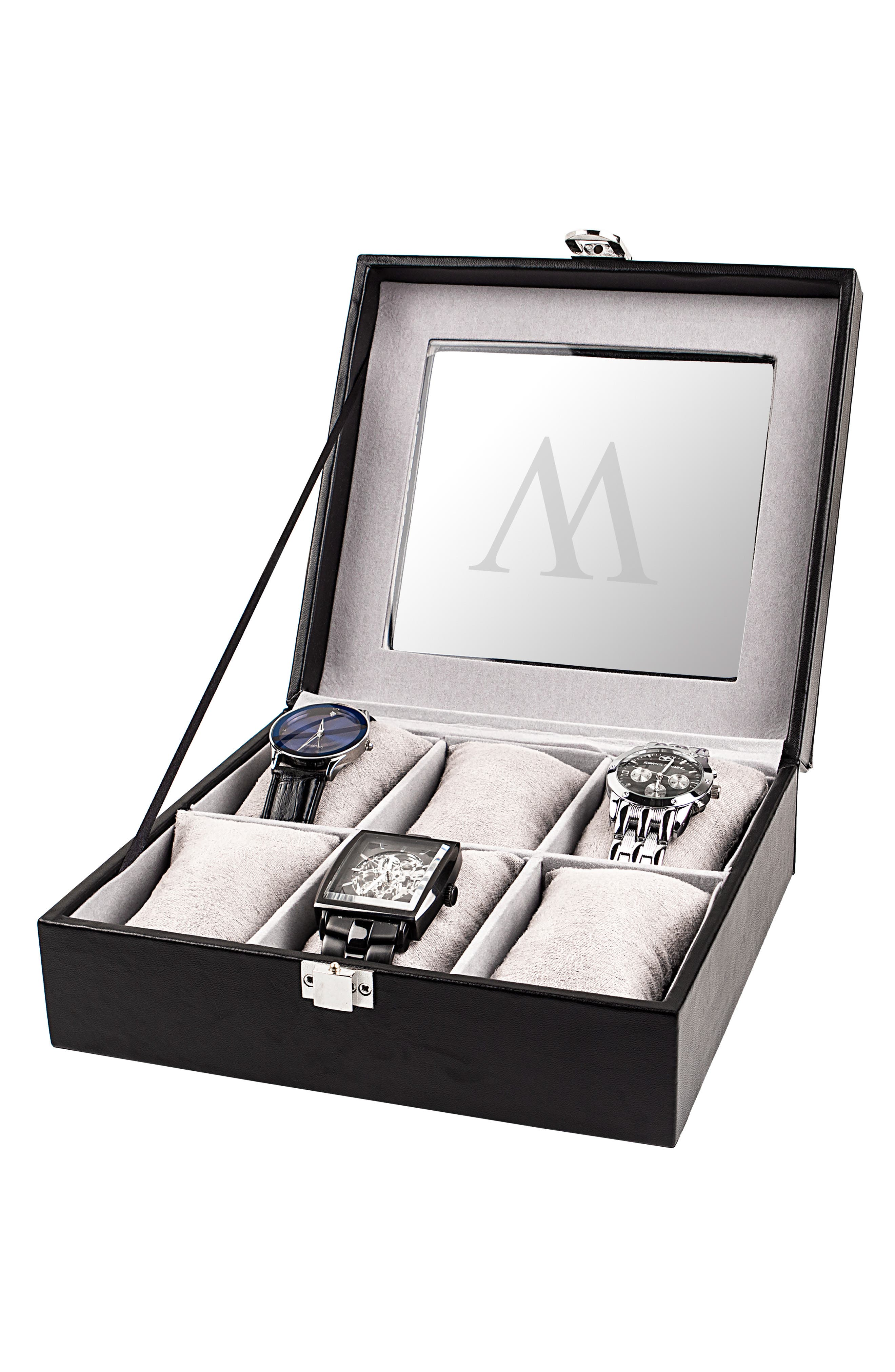 CATHY'S CONCEPTS, Monogram Watch Box, Alternate thumbnail 5, color, W