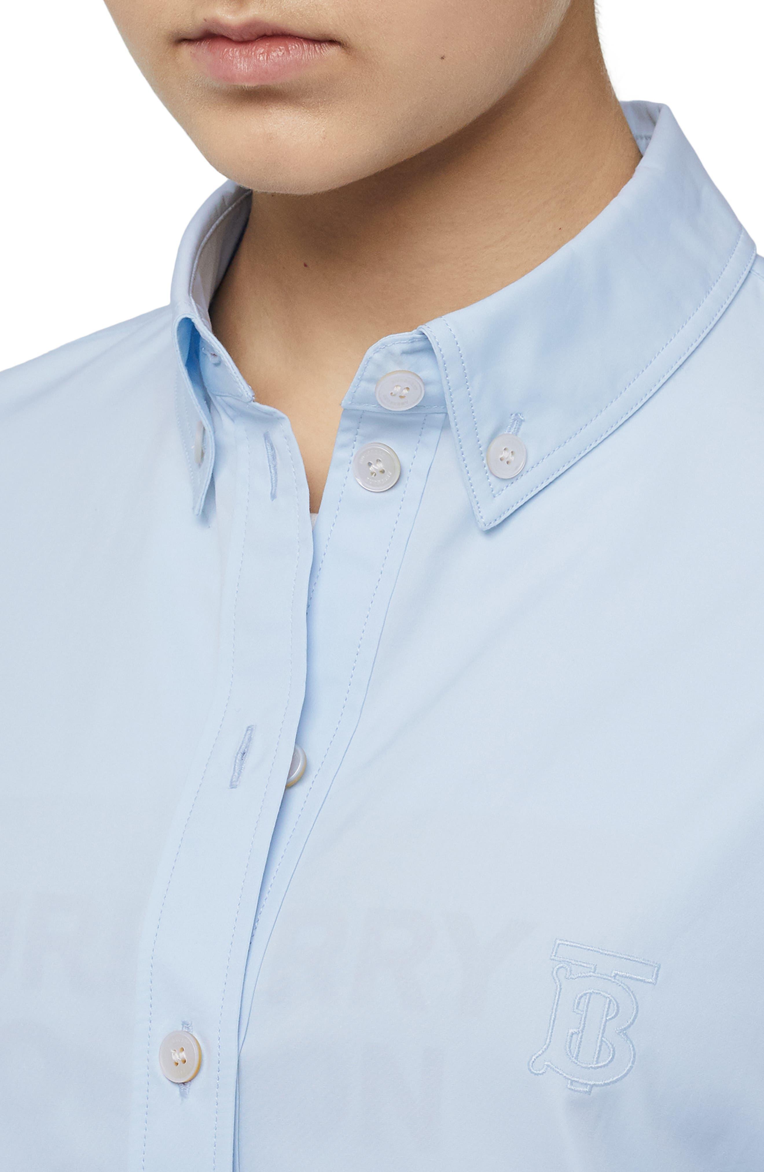 BURBERRY, Monogram Regular Fit Cotton Shirt, Alternate thumbnail 4, color, PALE BLUE
