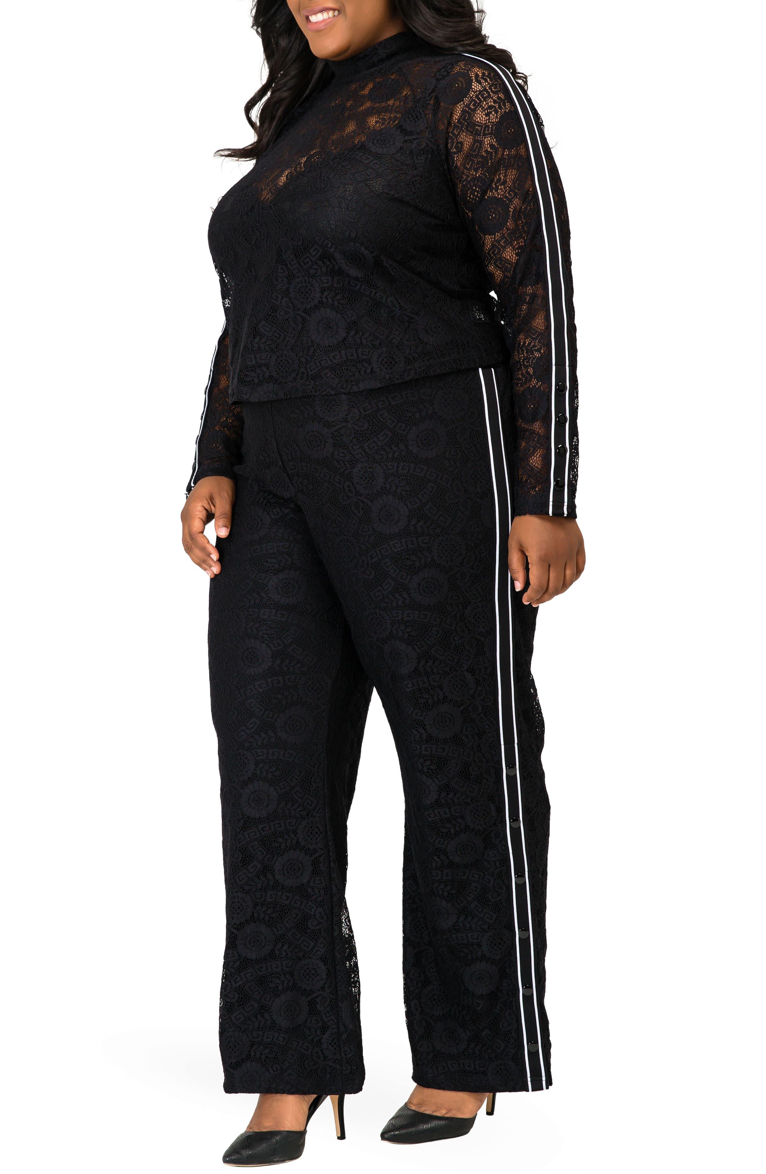 POETIC JUSTICE, Cornella High Rise Lace Knit Track Pants, Alternate thumbnail 5, color, BLACK