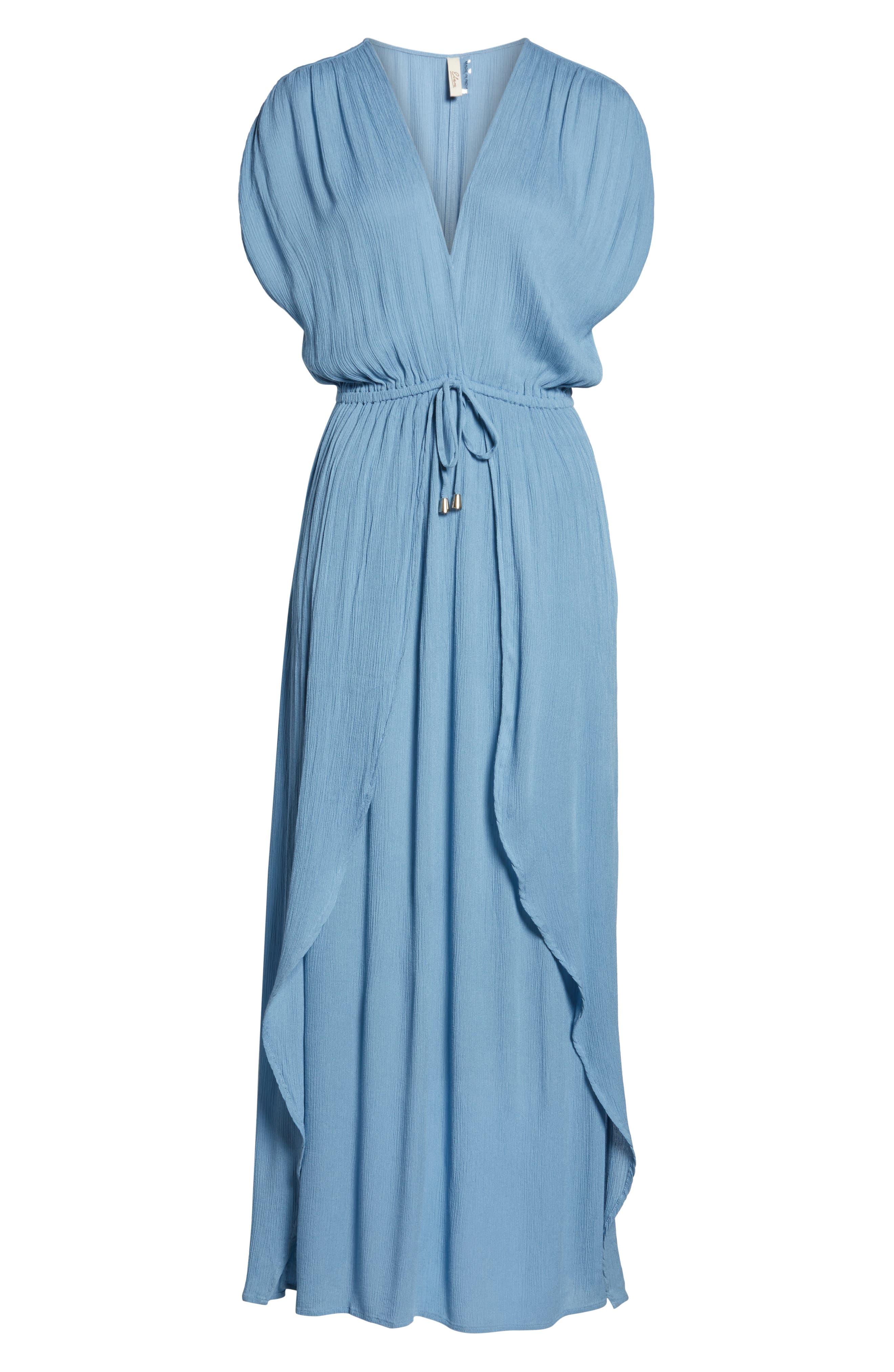 ELAN, Wrap Maxi Cover-Up Dress, Alternate thumbnail 6, color, WASHED BLUE