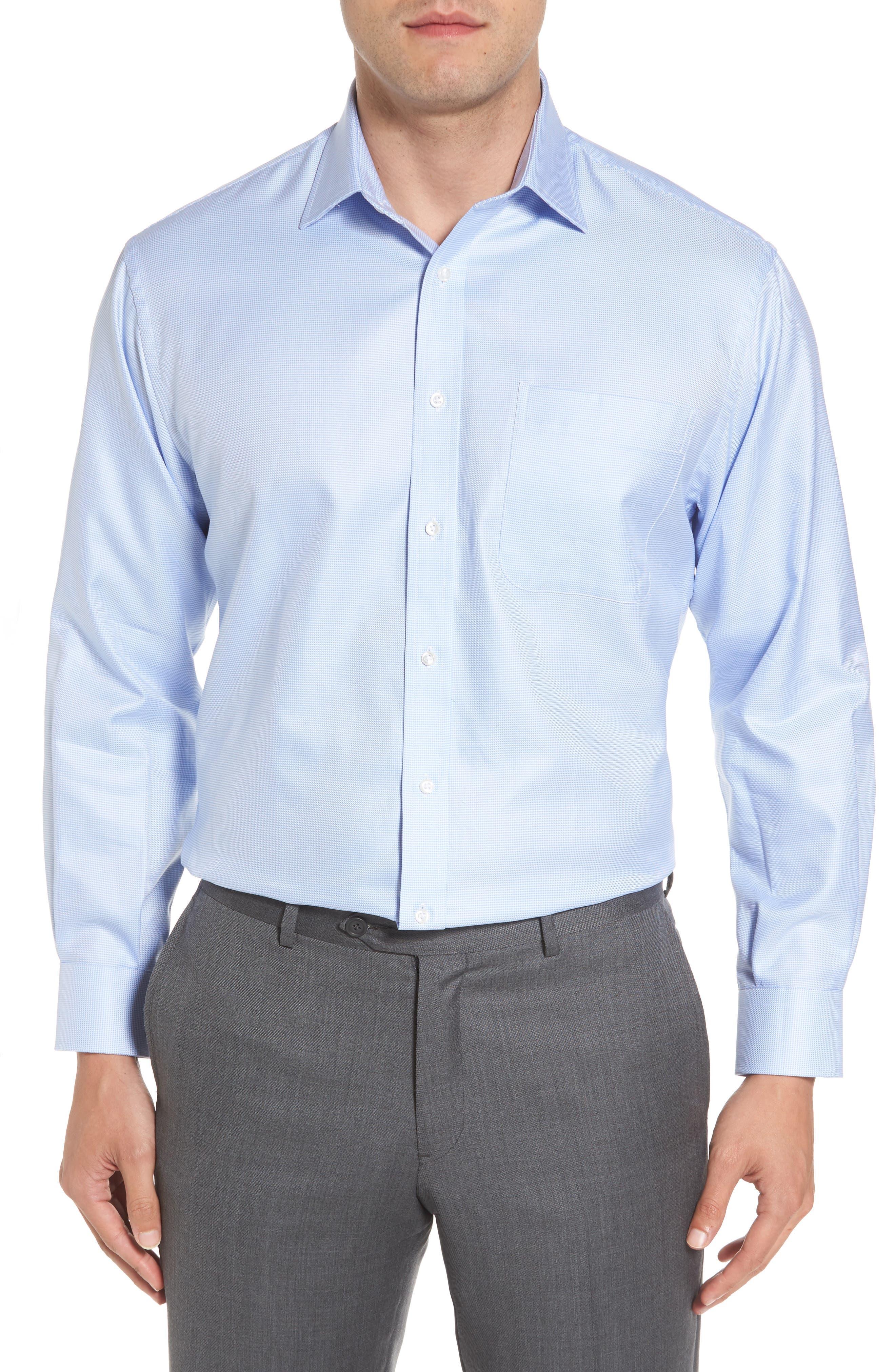 NORDSTROM MEN'S SHOP, Classic Fit Microgrid Dress Shirt, Main thumbnail 1, color, BLUE ROBIN