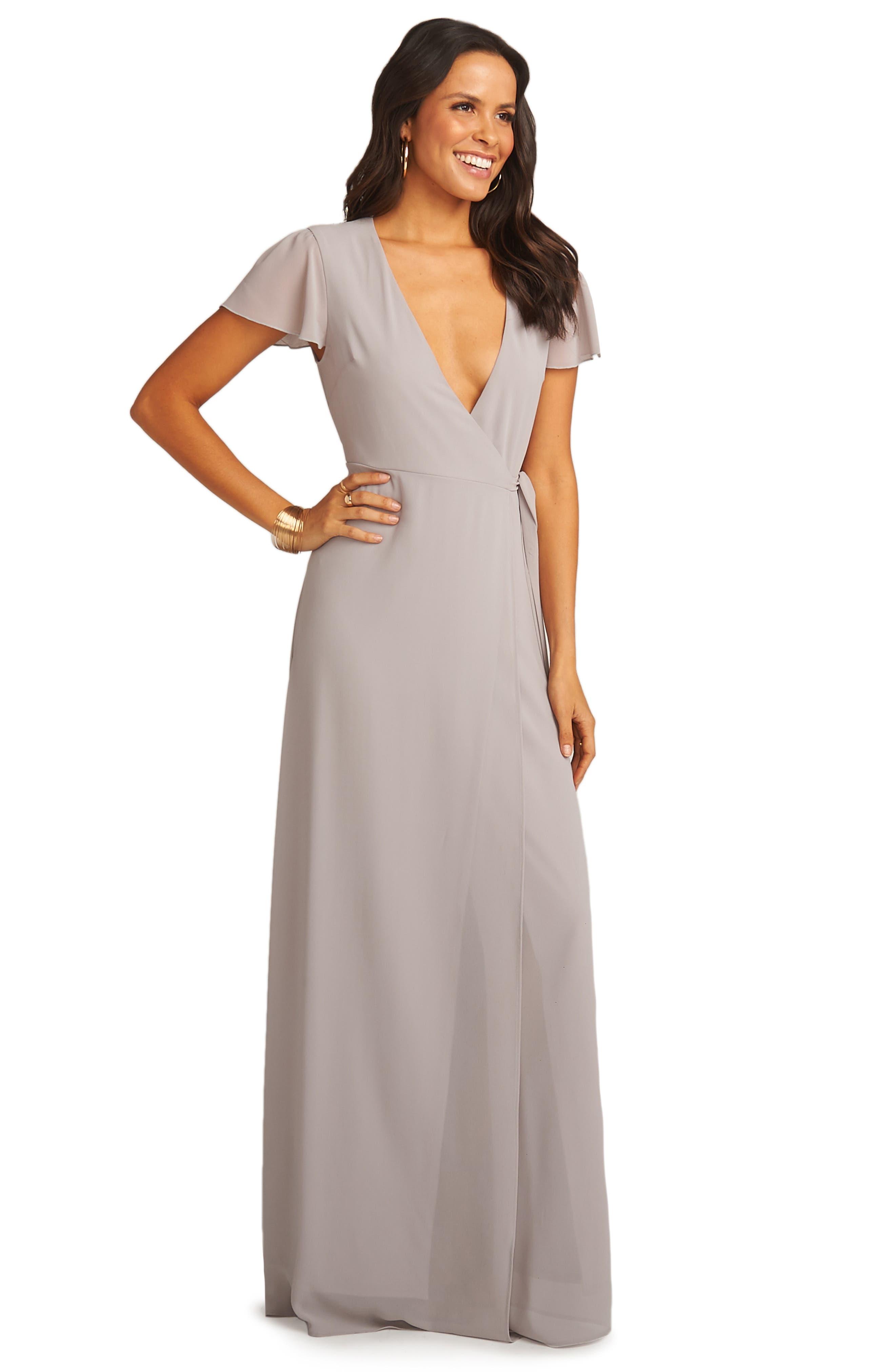SHOW ME YOUR MUMU, Noelle Wrap Dress, Alternate thumbnail 3, color, DOVE GREY