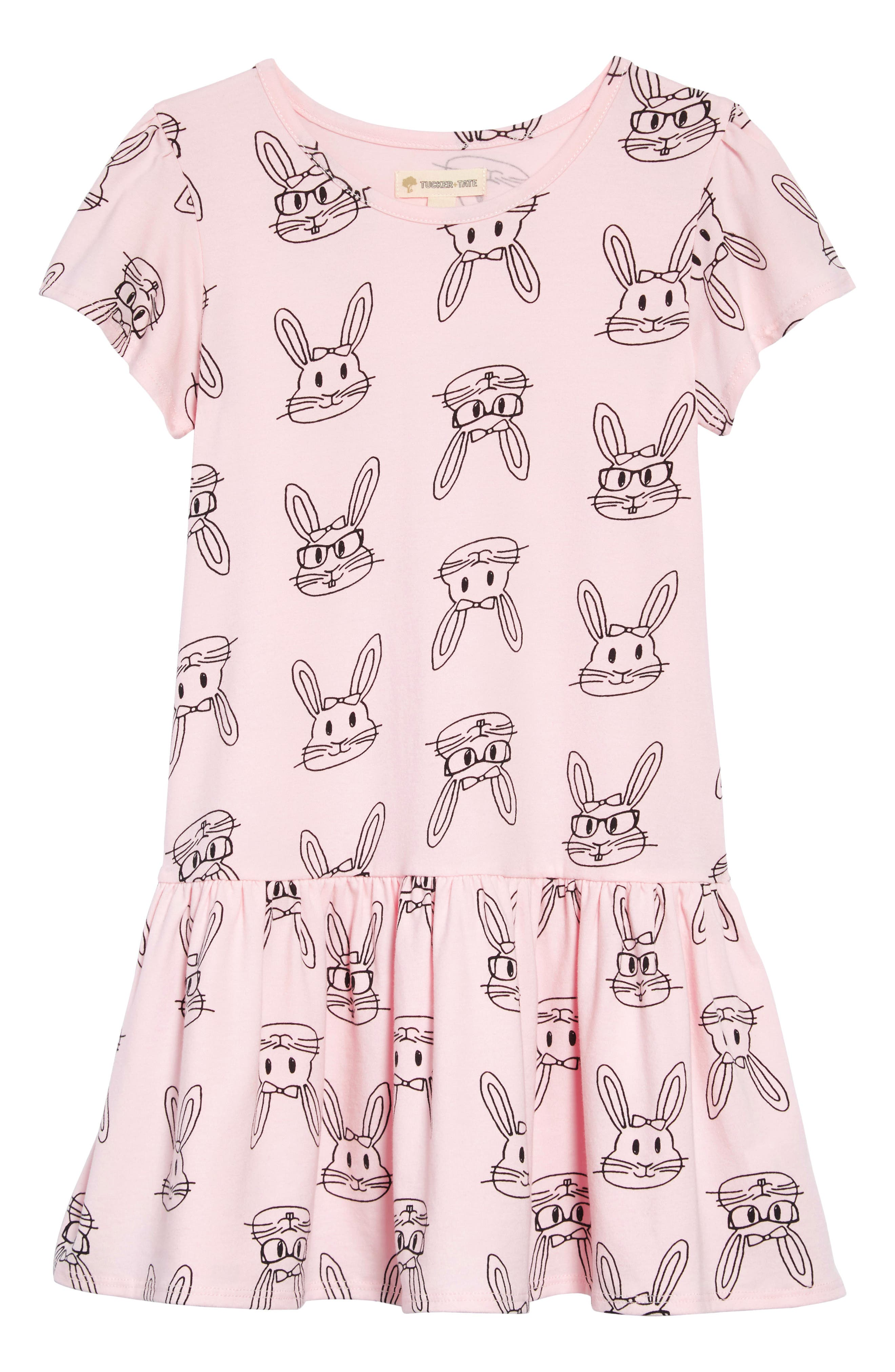 TUCKER + TATE, Tucker & Tate Print Jersey Dress, Main thumbnail 1, color, PINK AMOUR BUNNY DOODLE