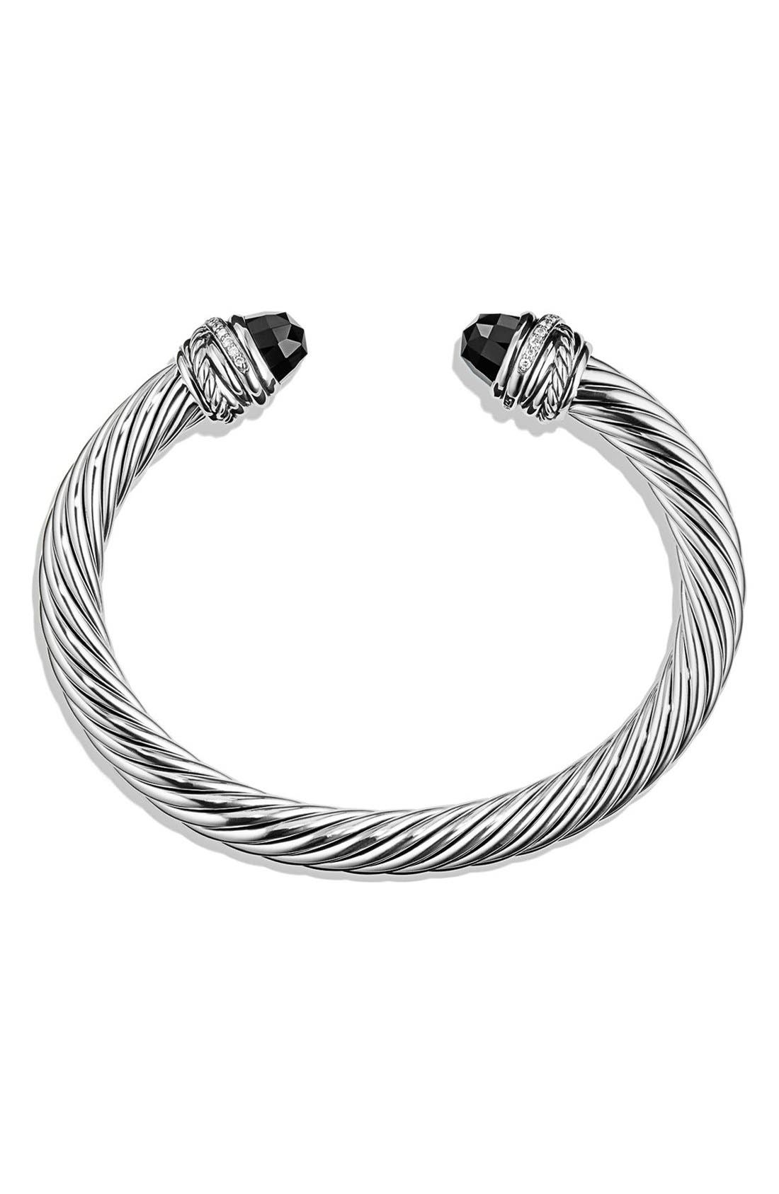 DAVID YURMAN, Crossover Bracelet with Diamonds, 7mm, Alternate thumbnail 3, color, BLACK ONYX