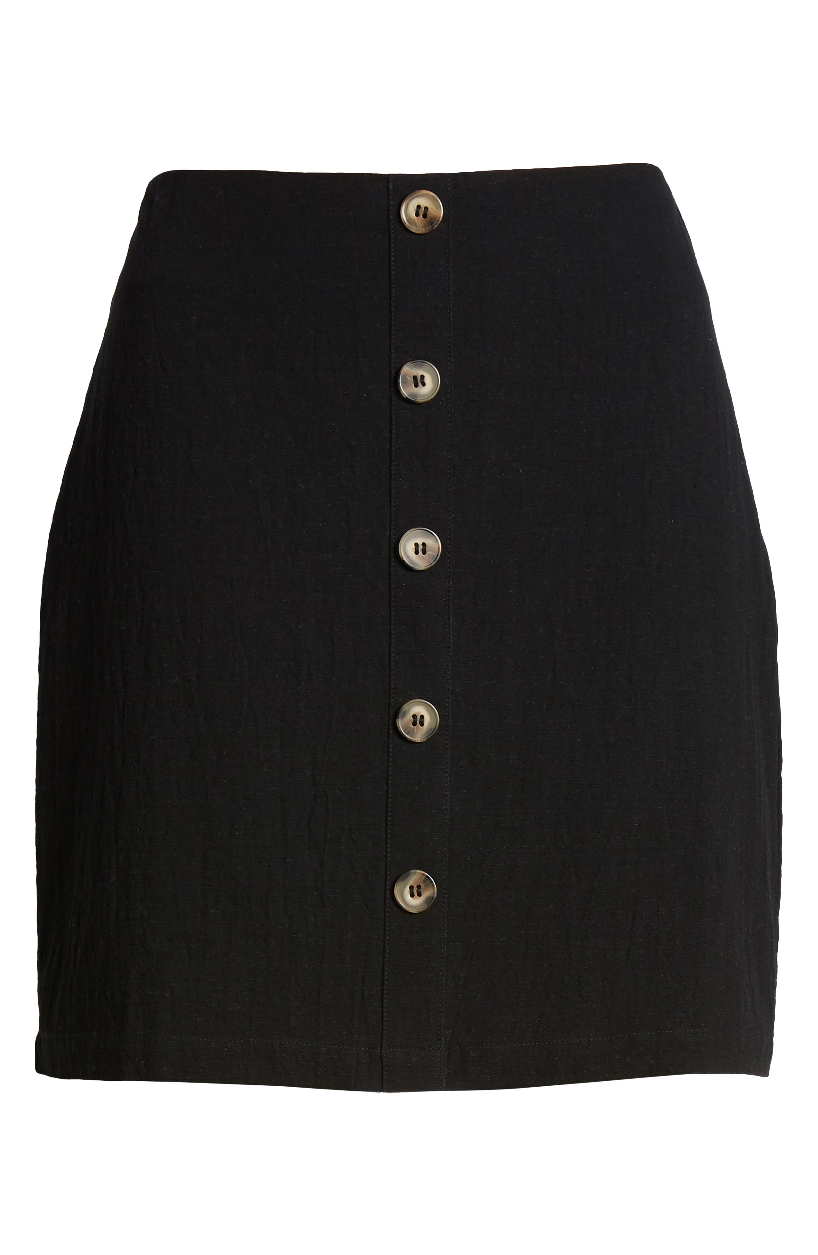 J.O.A., Button Front Miniskirt, Alternate thumbnail 6, color, 001