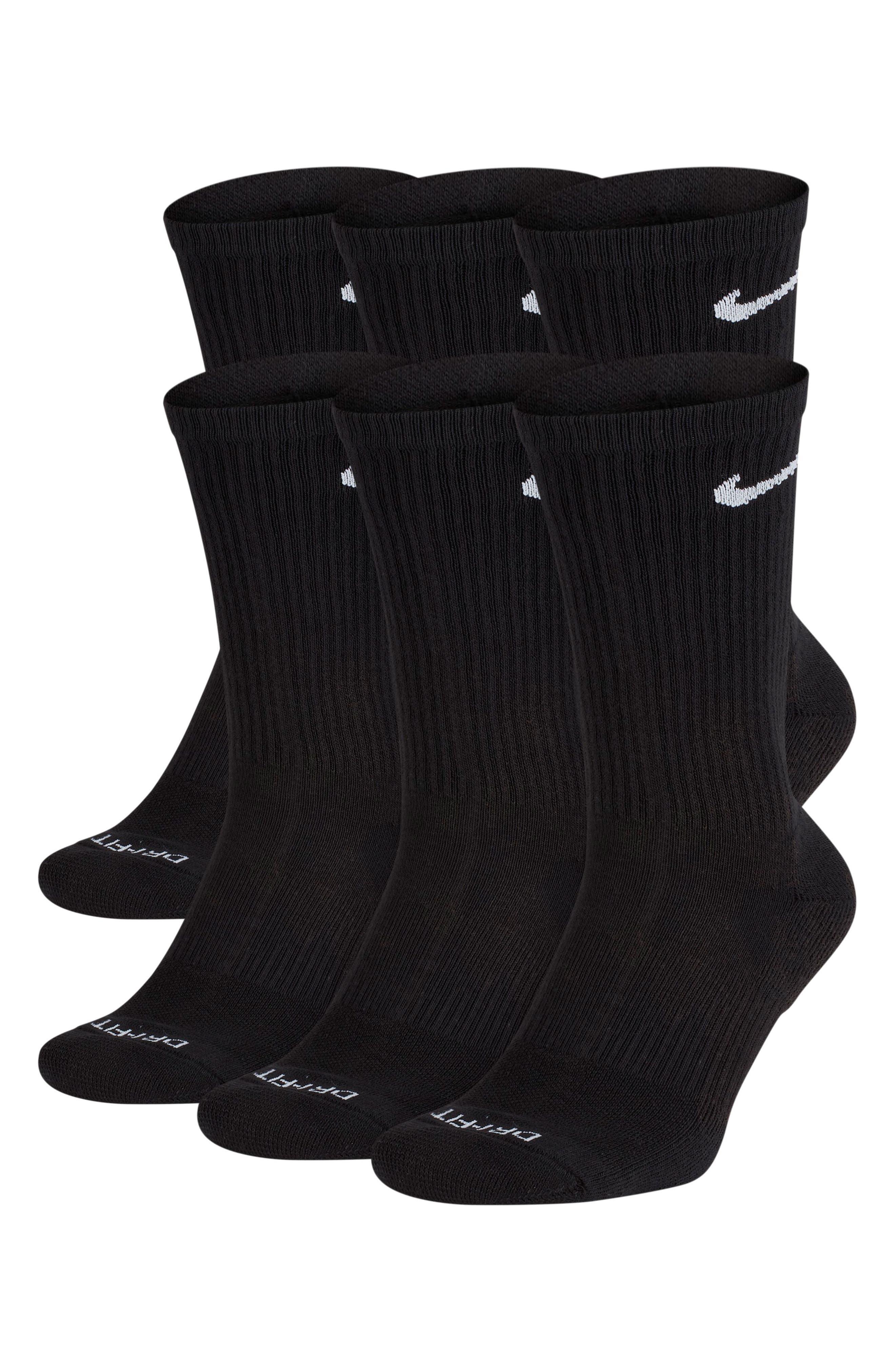 NIKE, Dry 6-Pack Everyday Plus Cushion Crew Training Socks, Main thumbnail 1, color, BLACK/ WHITE