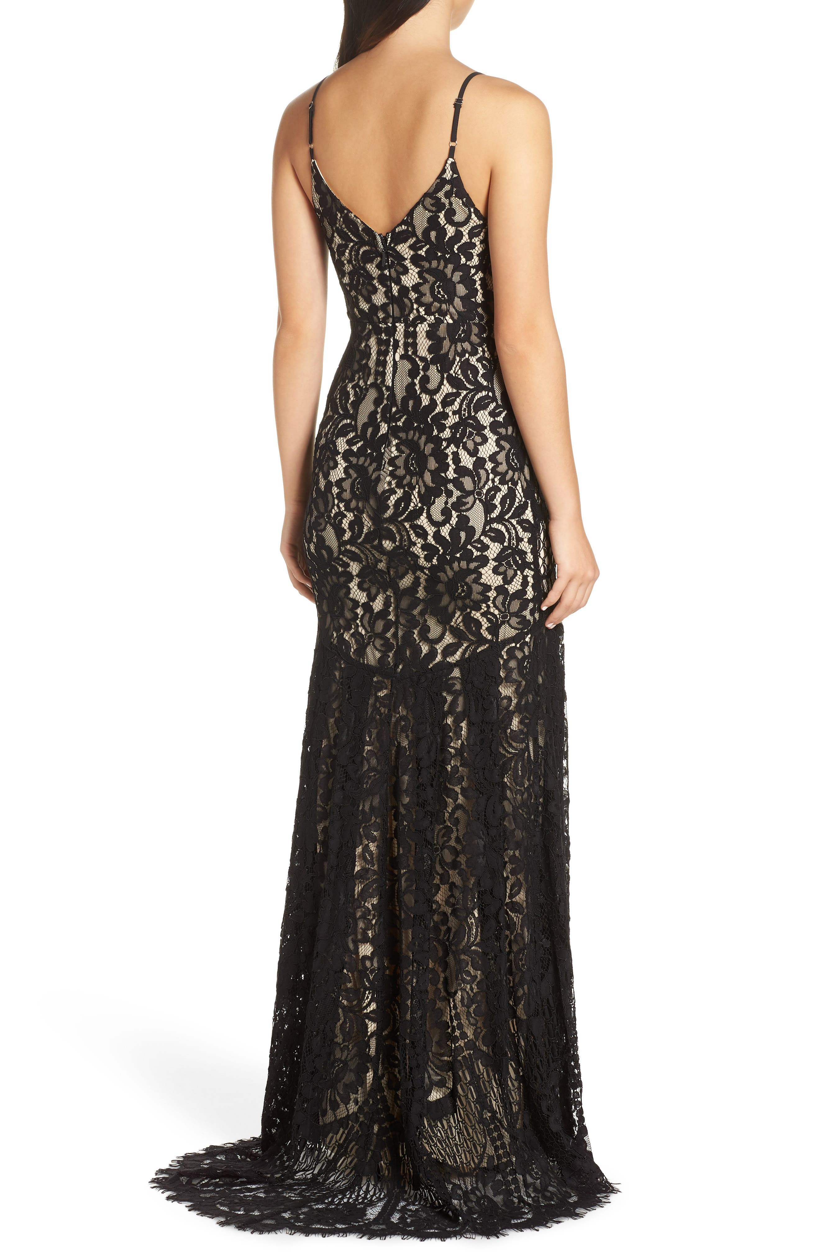 LULUS, Flynn Lace Gown with Train, Alternate thumbnail 2, color, BLACK/ NUDE