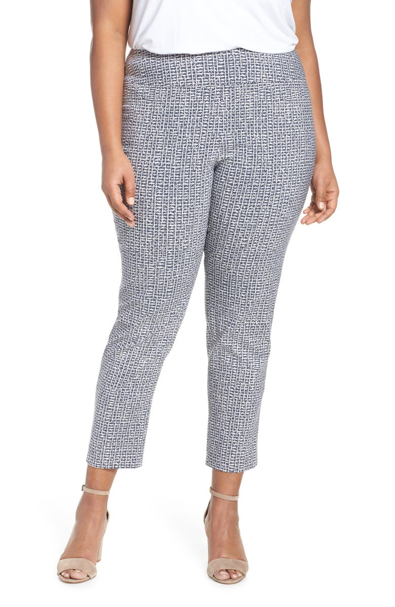 Nic+zoe Pants BLUE HATCHING ANKLE PANTS