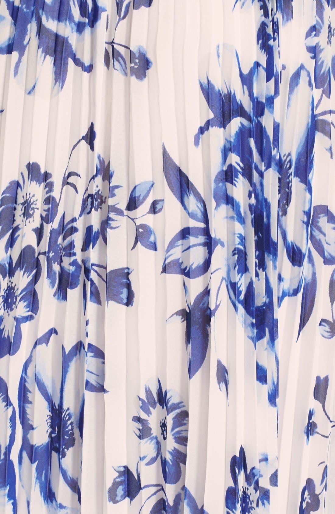 ELIZA J, Pleated Floral Chiffon Maxi Dress, Alternate thumbnail 9, color, COBALT