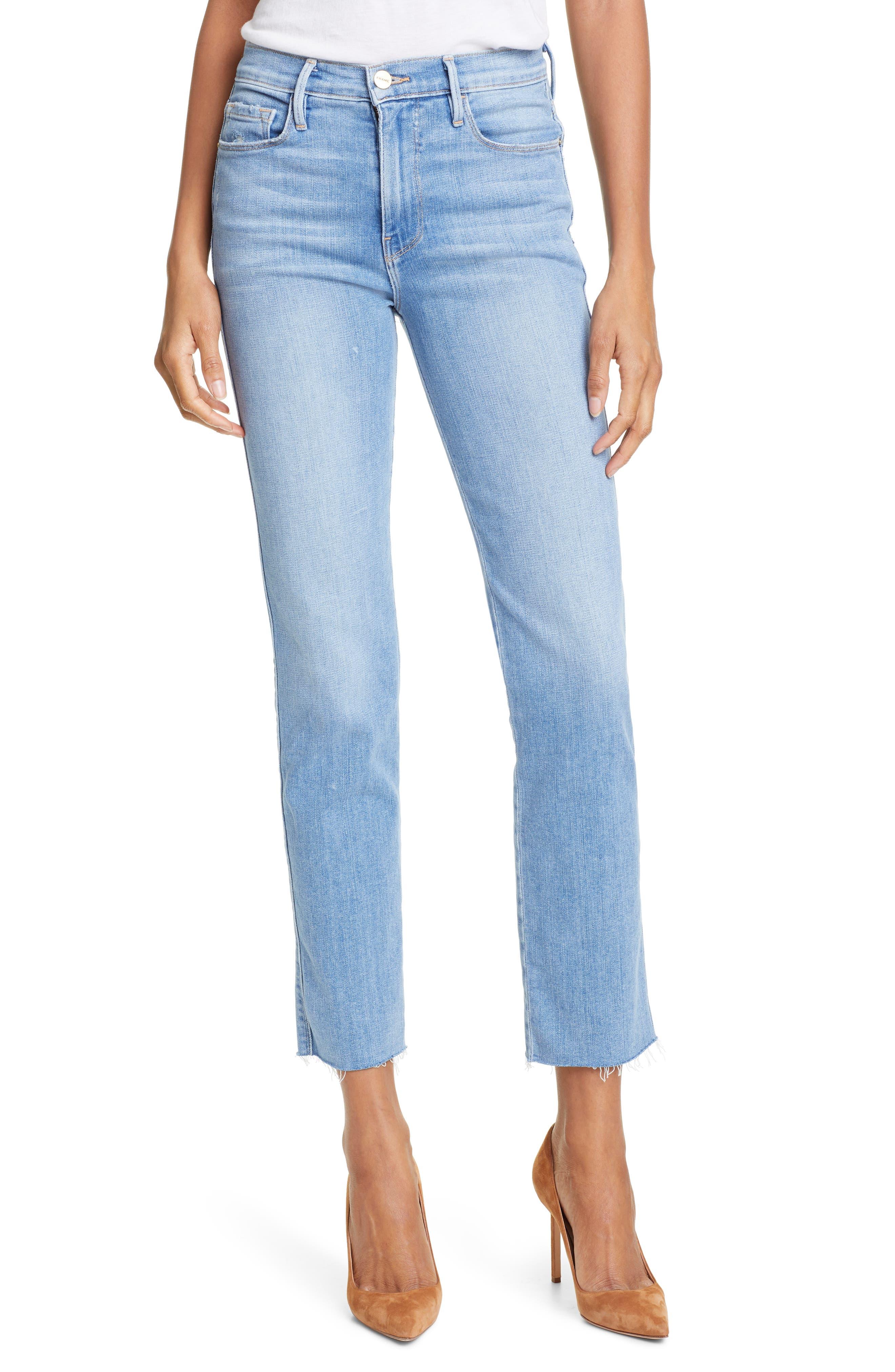 FRAME Le Sylvie High Waist Raw Hem Straight Leg Jeans, Main, color, OVERDRIVE
