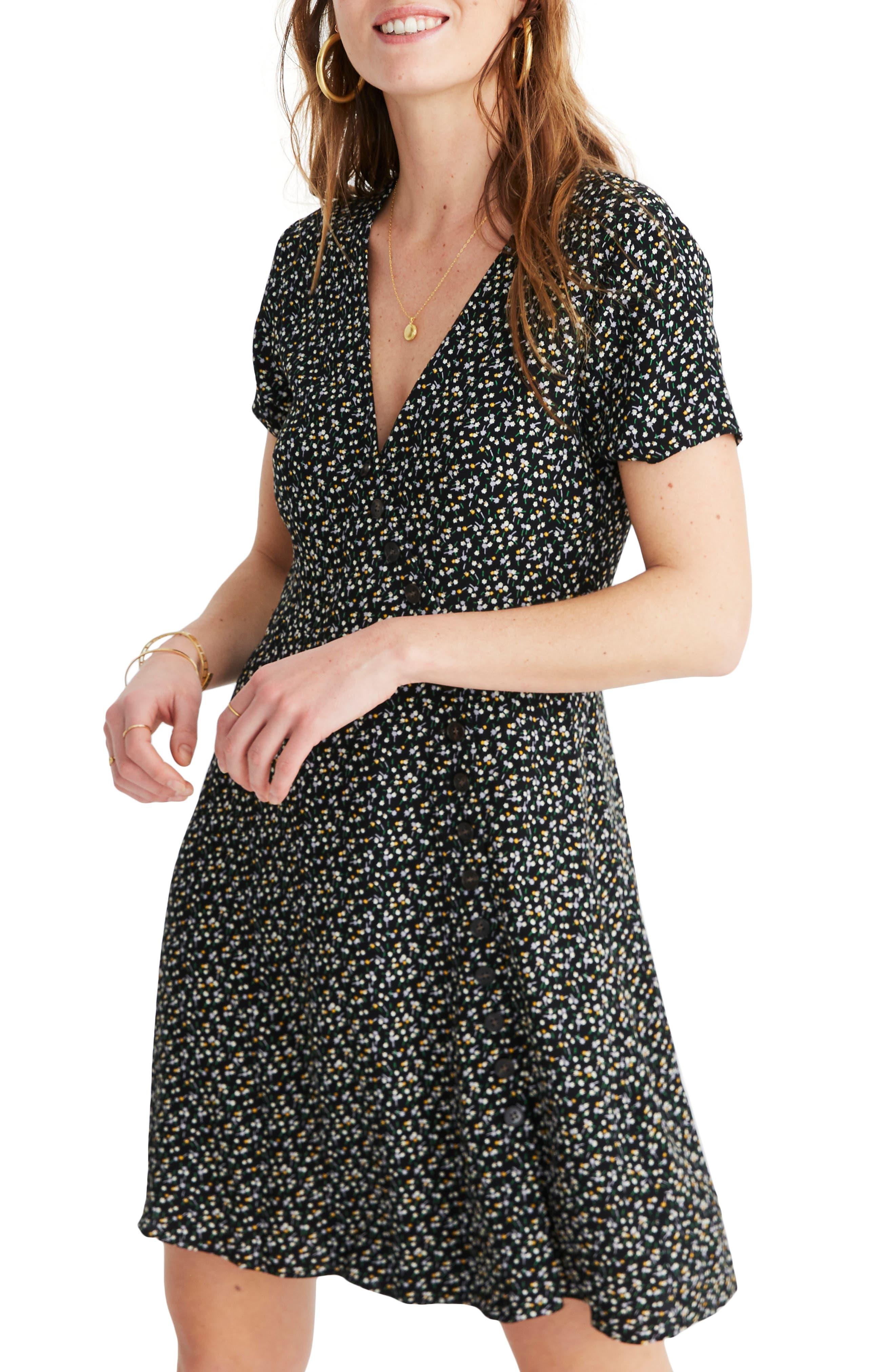 MADEWELL, Button Wrap Dress, Main thumbnail 1, color, BLACK FLORAL