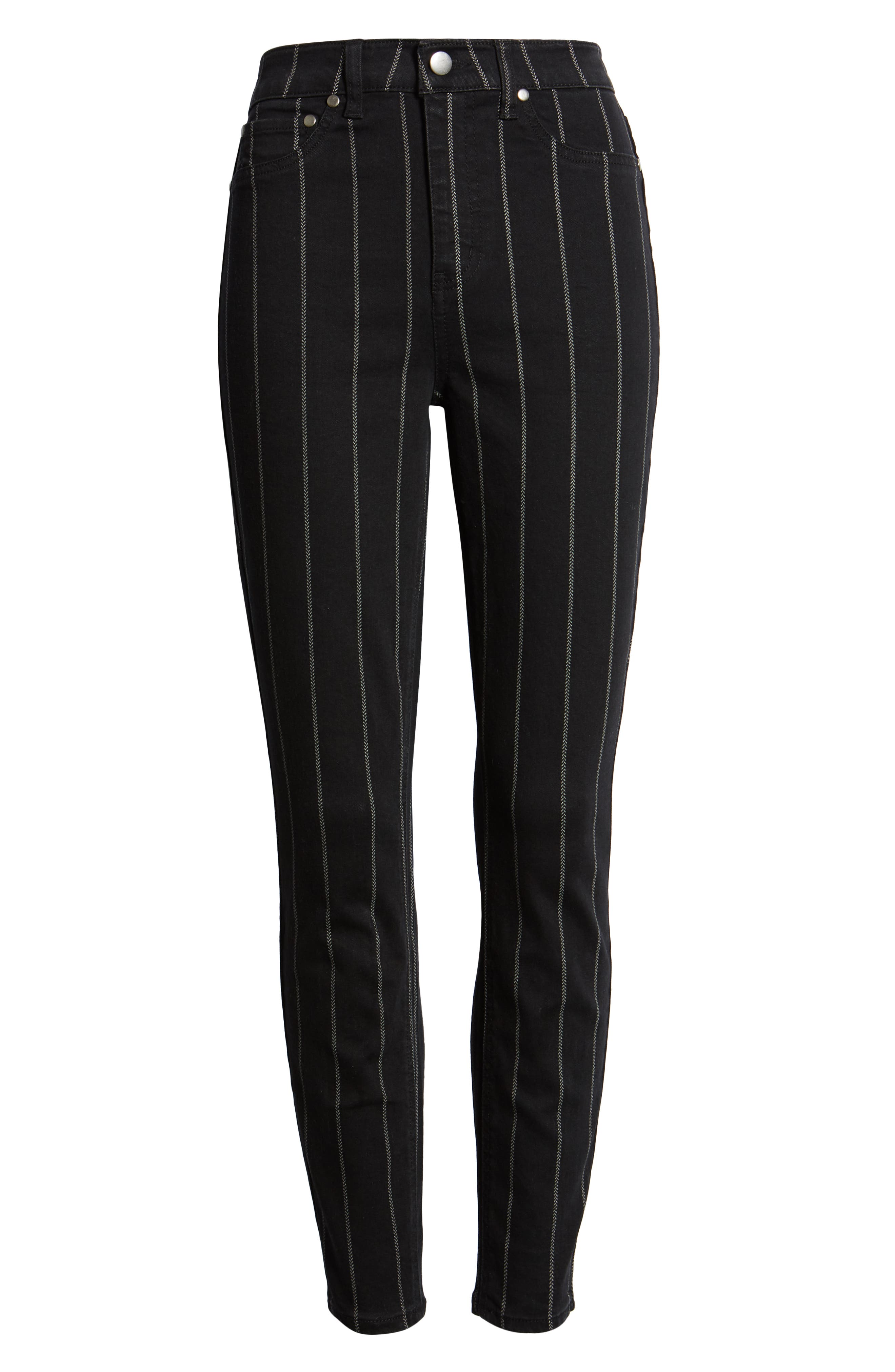 TINSEL, Stripe High Rise Skinny Jeans, Alternate thumbnail 7, color, 001