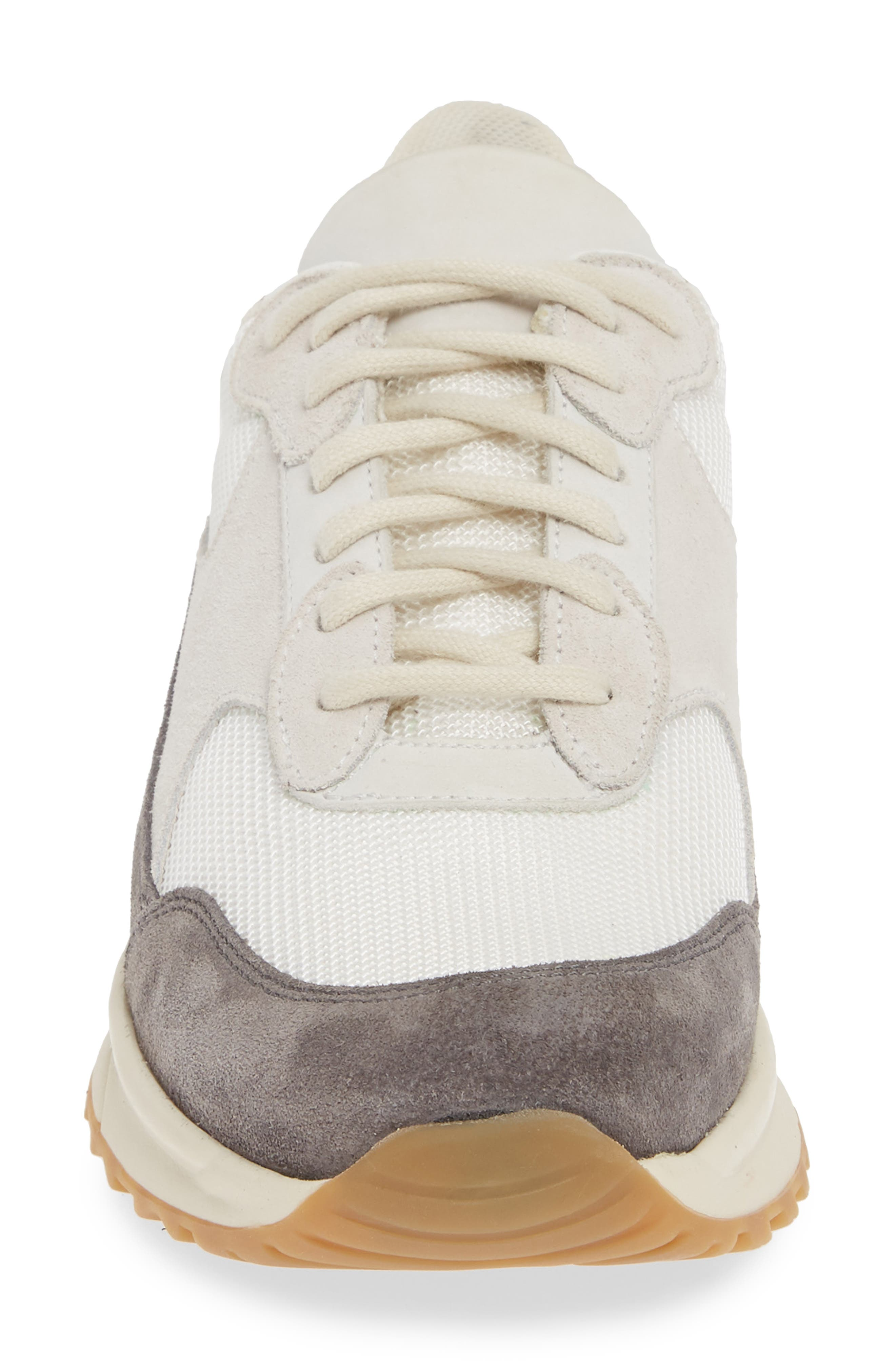 COMMON PROJECTS, New Track Sneaker, Alternate thumbnail 4, color, WHITE/ GREY