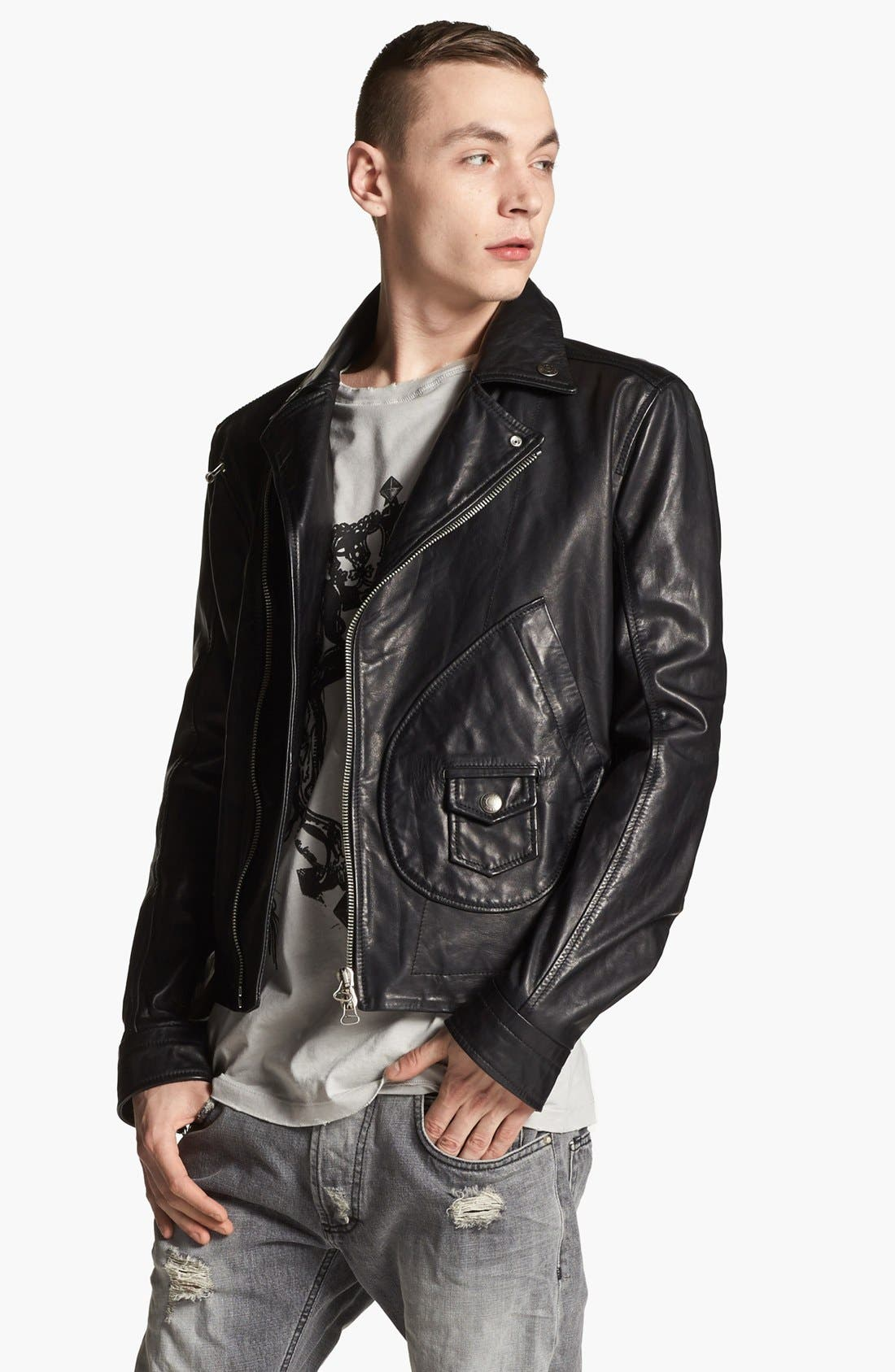 PIERRE BALMAIN, Leather Moto Jacket, Main thumbnail 1, color, 001