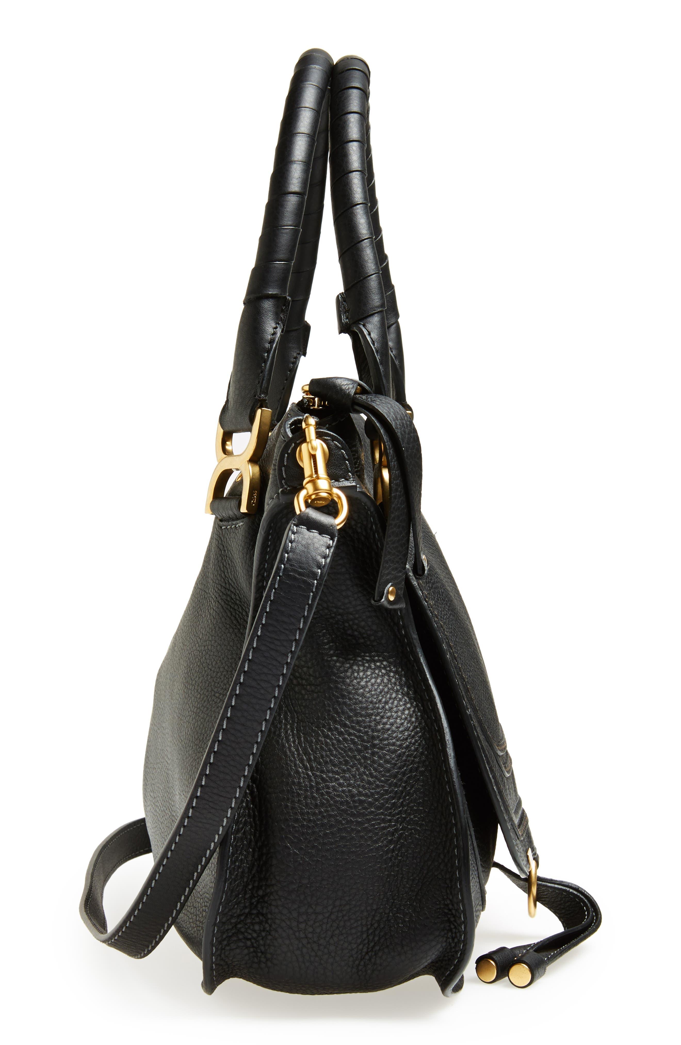 CHLOÉ, 'Medium Marcie' Leather Satchel, Alternate thumbnail 5, color, BLACK GOLD HRDWRE