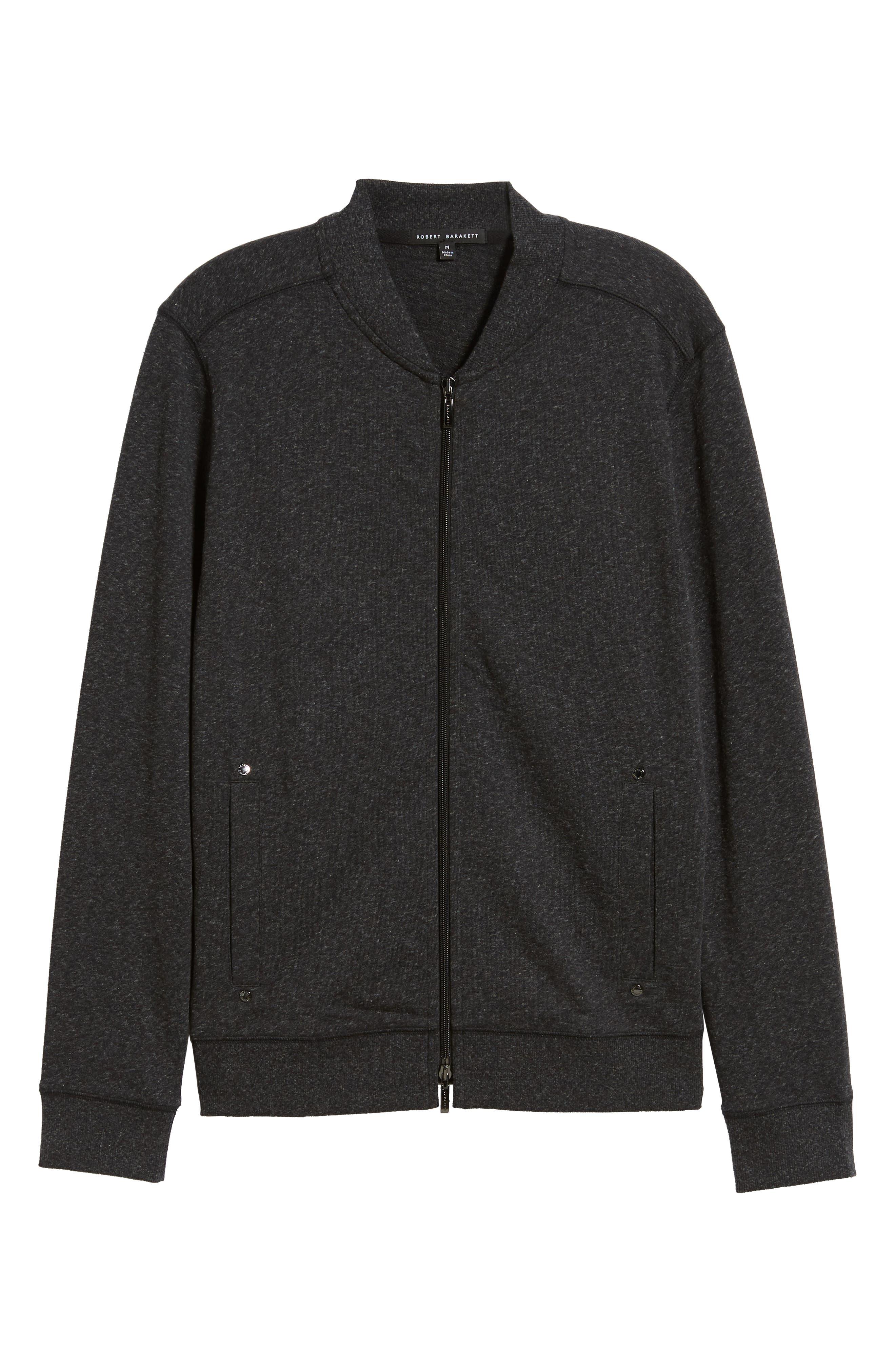 ROBERT BARAKETT, Front Zip Knit Jacket, Alternate thumbnail 6, color, BLACK