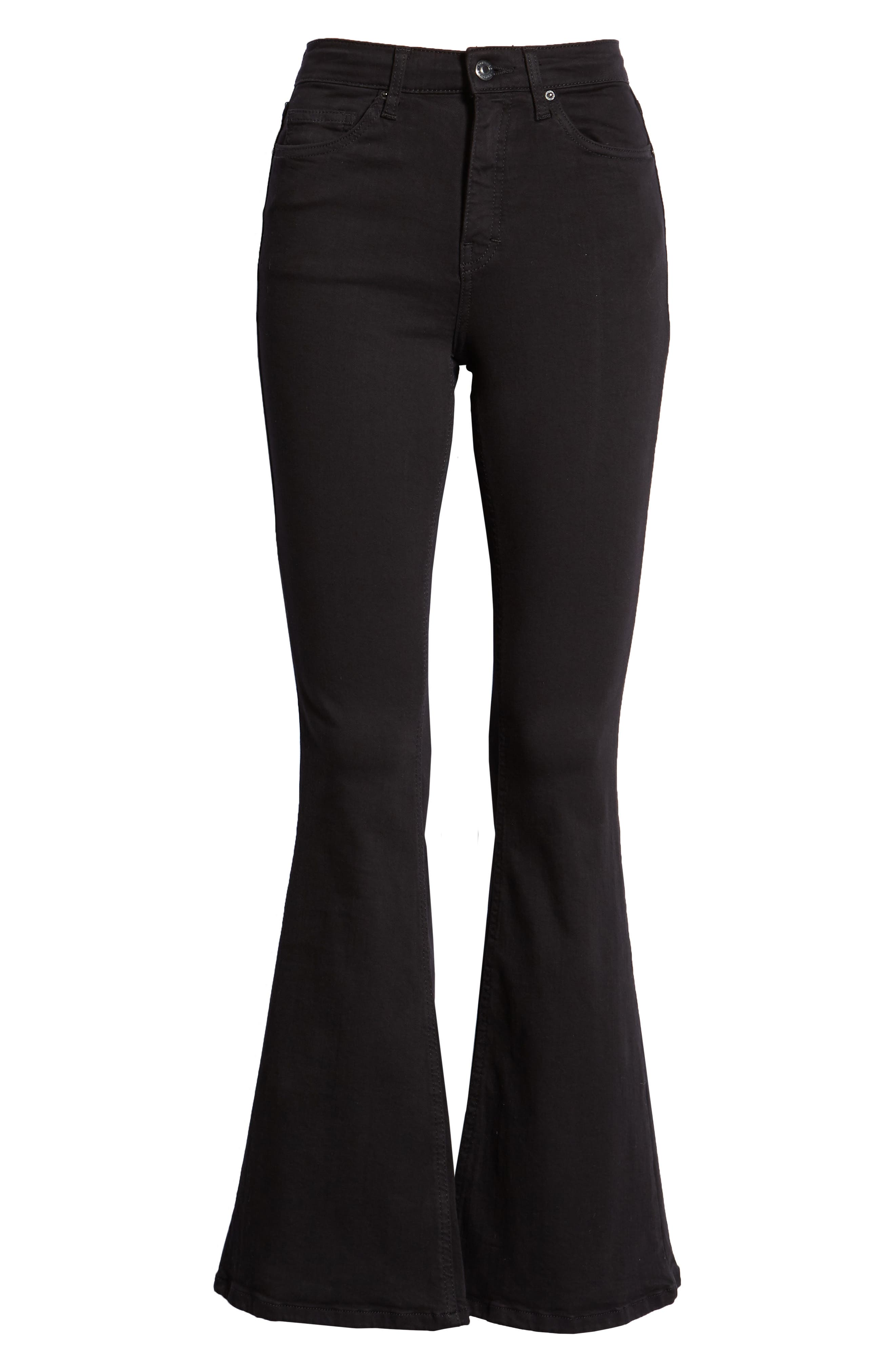 TOPSHOP, Jamie Flare Leg Jeans, Alternate thumbnail 7, color, OPEN BLACK