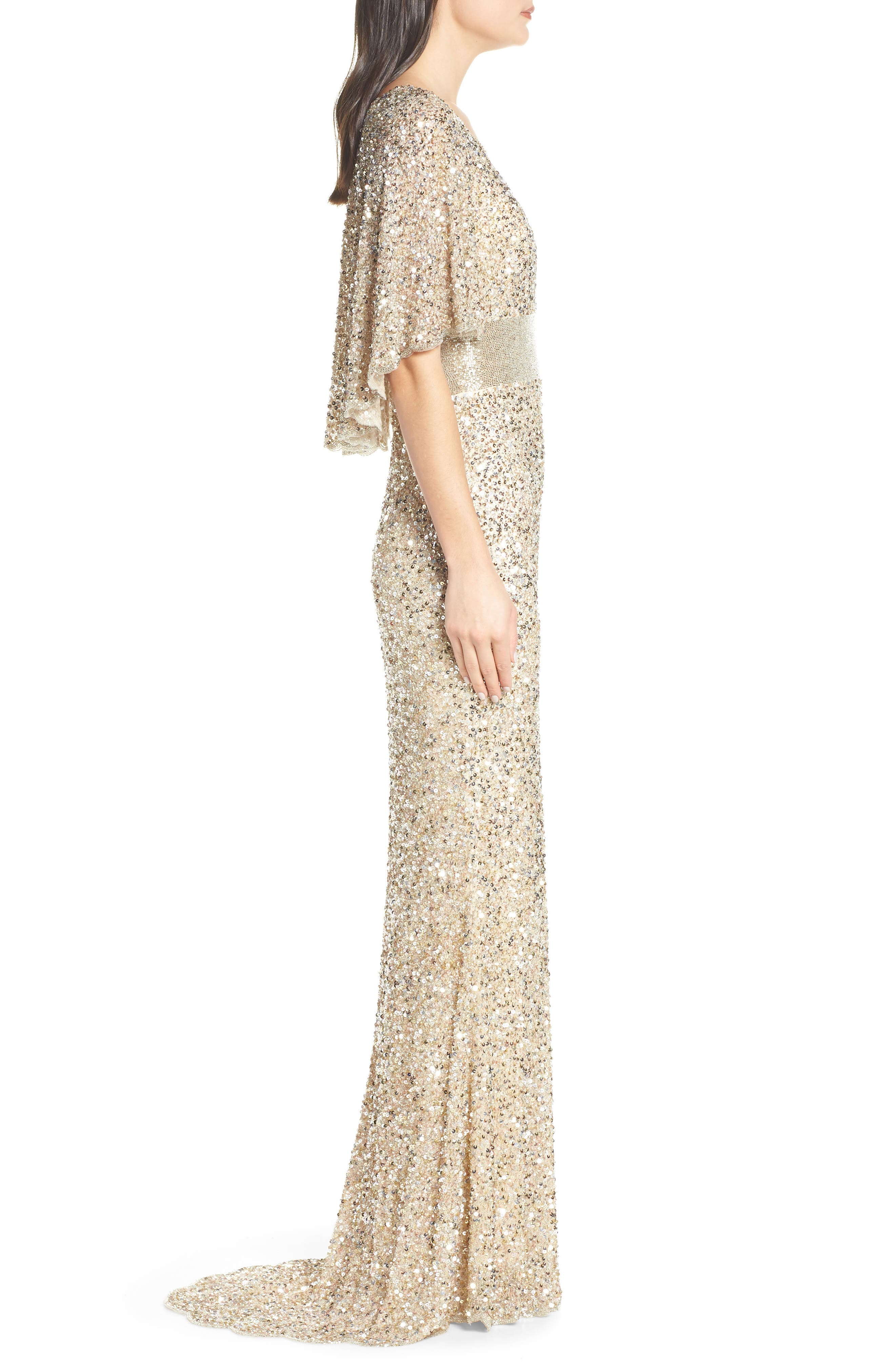 MAC DUGGAL, Beaded Capelet Sleeve Evening Dress, Alternate thumbnail 4, color, NUDE/ GOLD