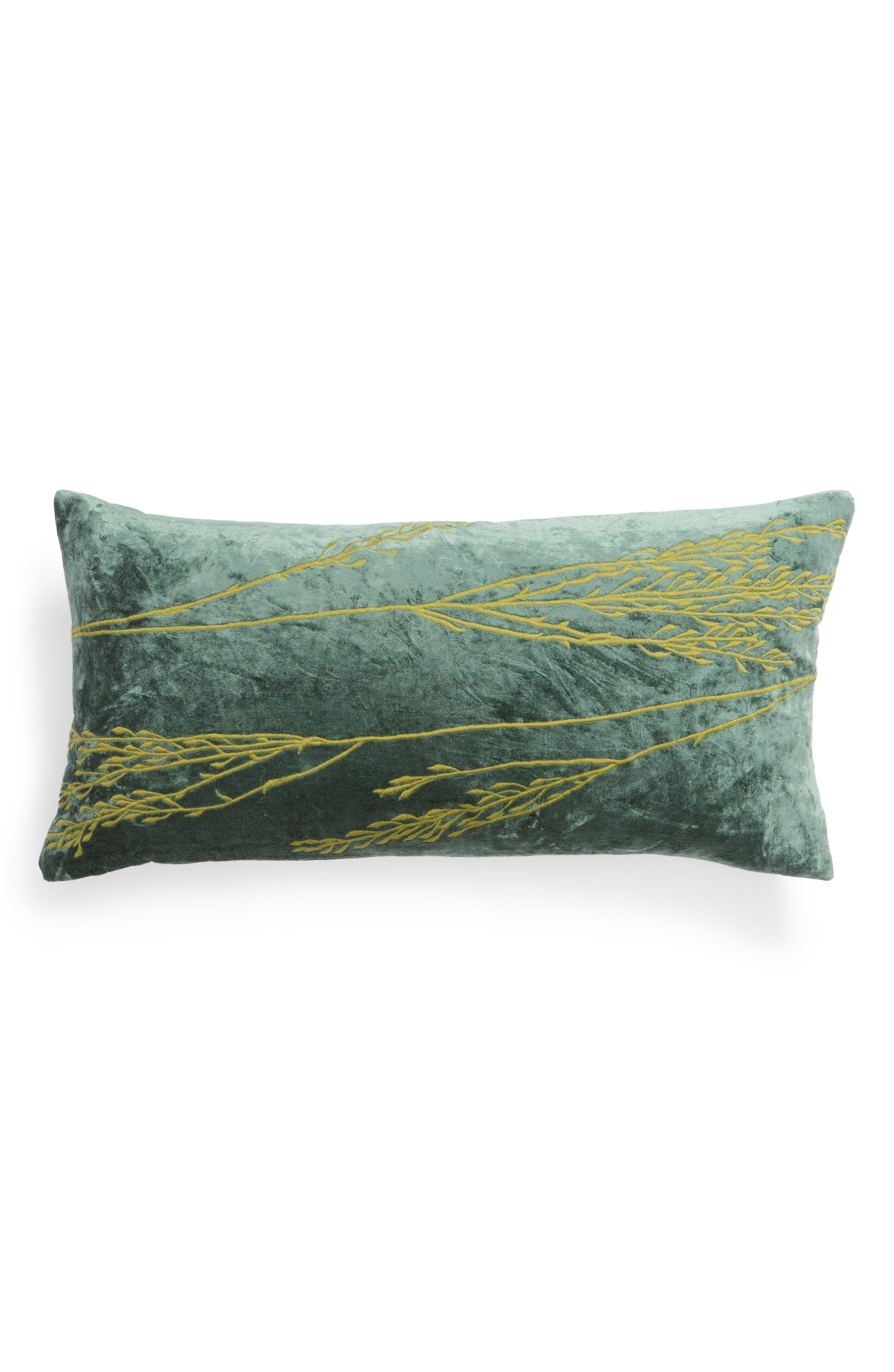 TREASURE & BOND, Stonewashed Embroidered Velveteen Accent Pillow, Main thumbnail 1, color, GREEN SHORE MULTI