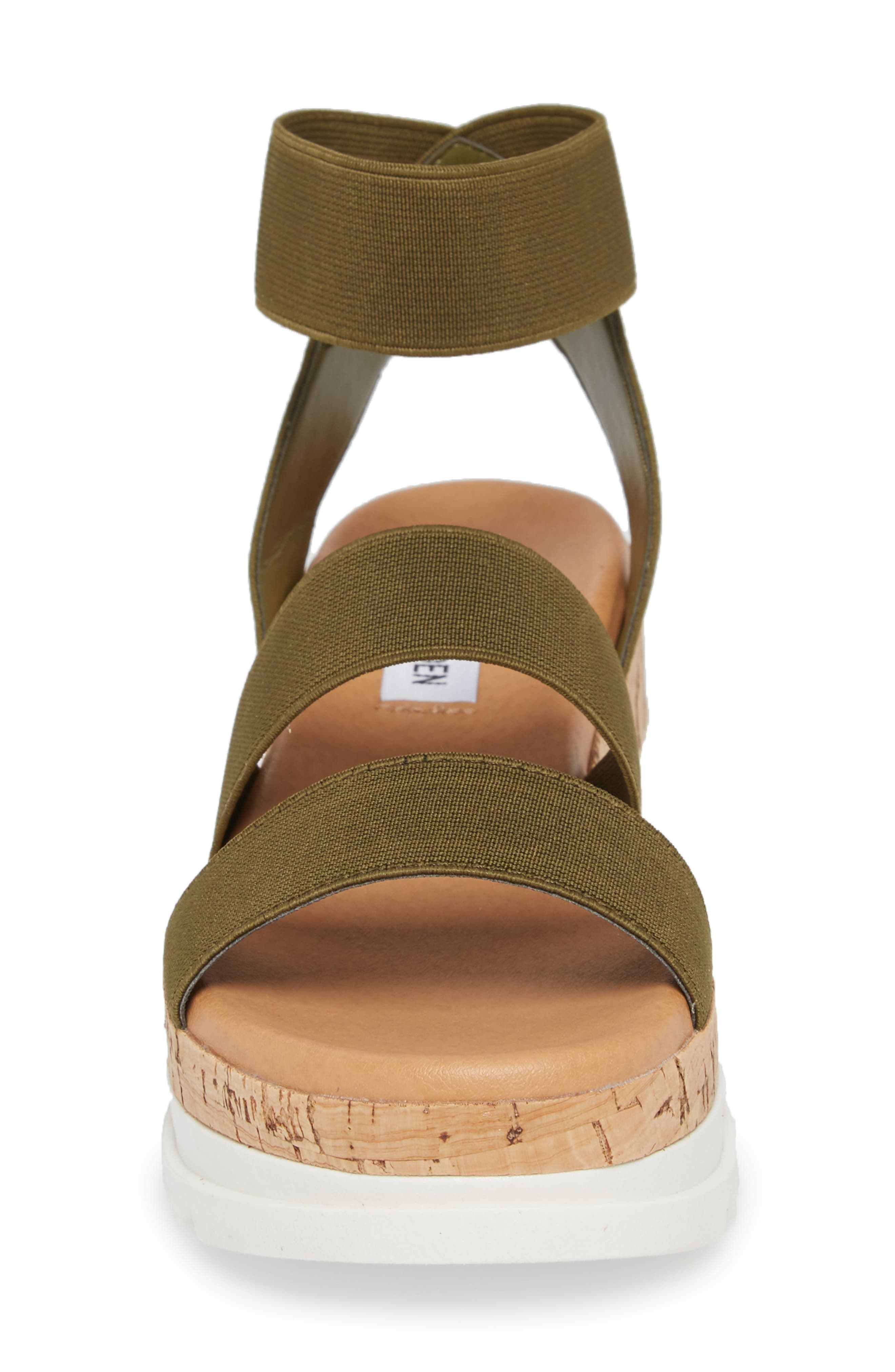 STEVE MADDEN, Bandi Platform Wedge Sandal, Alternate thumbnail 4, color, OLIVE