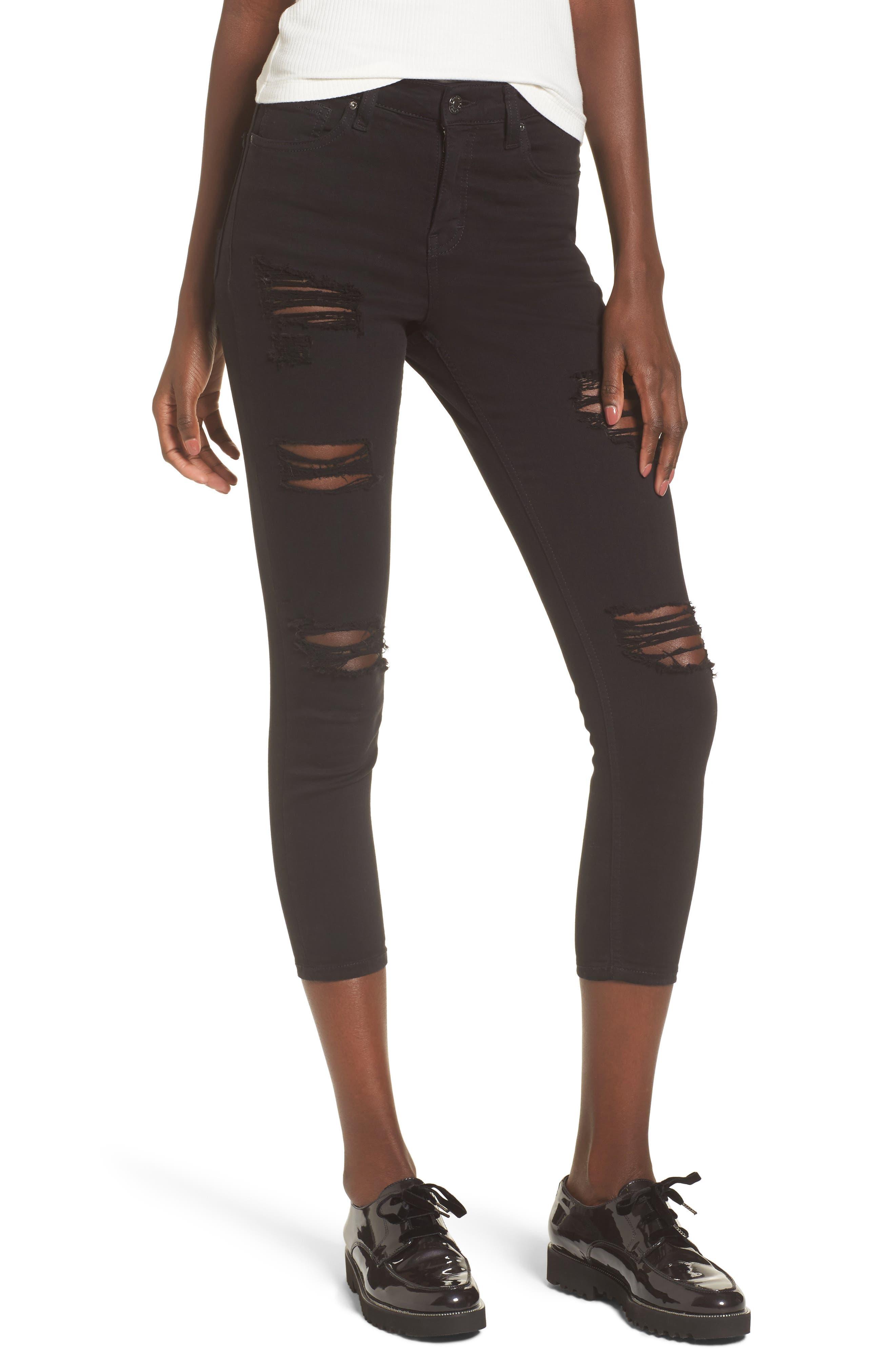 TOPSHOP, Moto 'Jamie' Ripped Skinny Jeans, Main thumbnail 1, color, 001