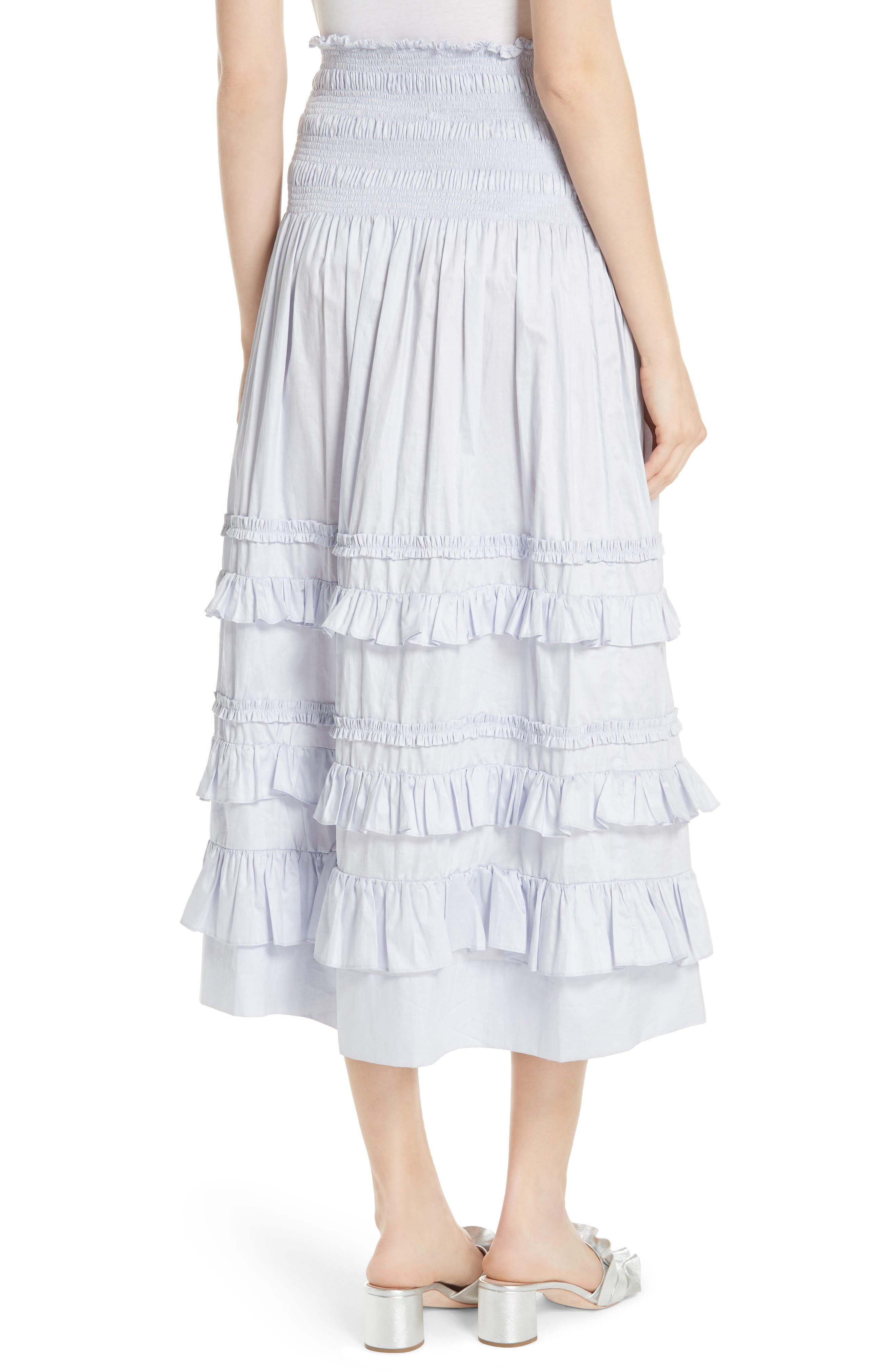 REBECCA TAYLOR, Ruffle Trim Midi Skirt, Alternate thumbnail 2, color, 458