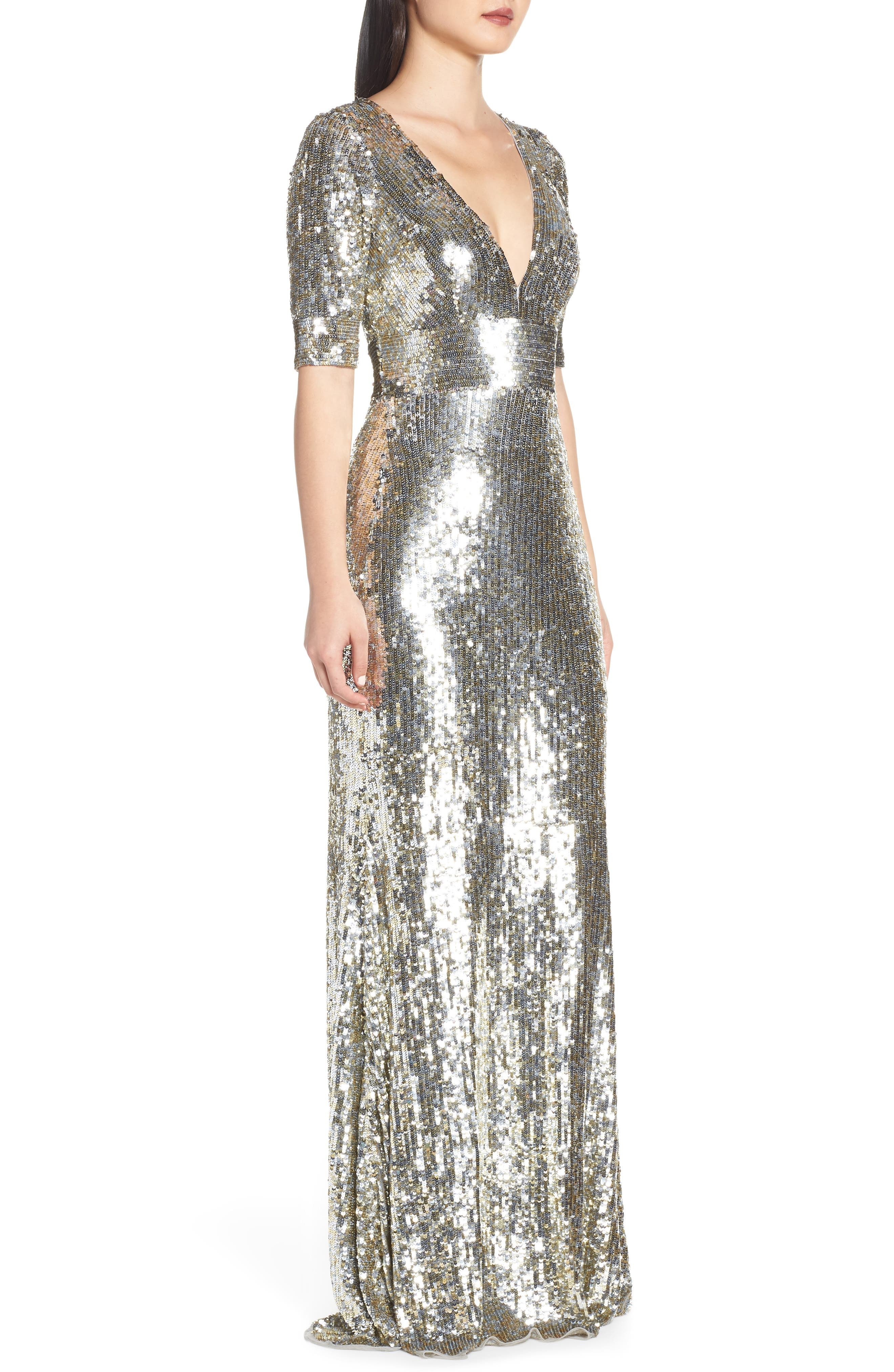 MAC DUGGAL, Sequin Stripe Evening Dress, Alternate thumbnail 4, color, PLATINUM